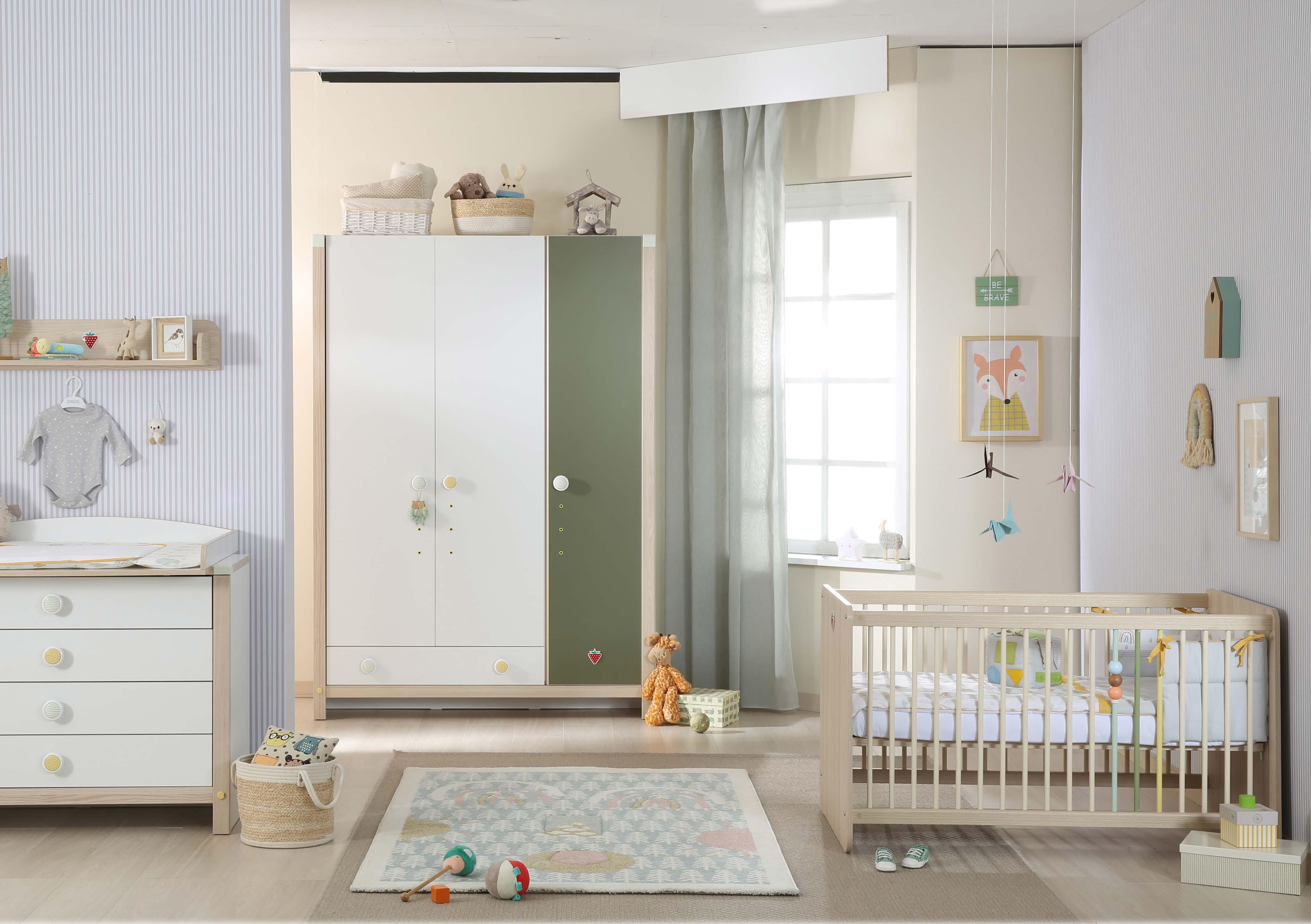 Set Mobila din pal pentru camera bebe 5 piese Montessori Baby Natural 120 x 60 cm