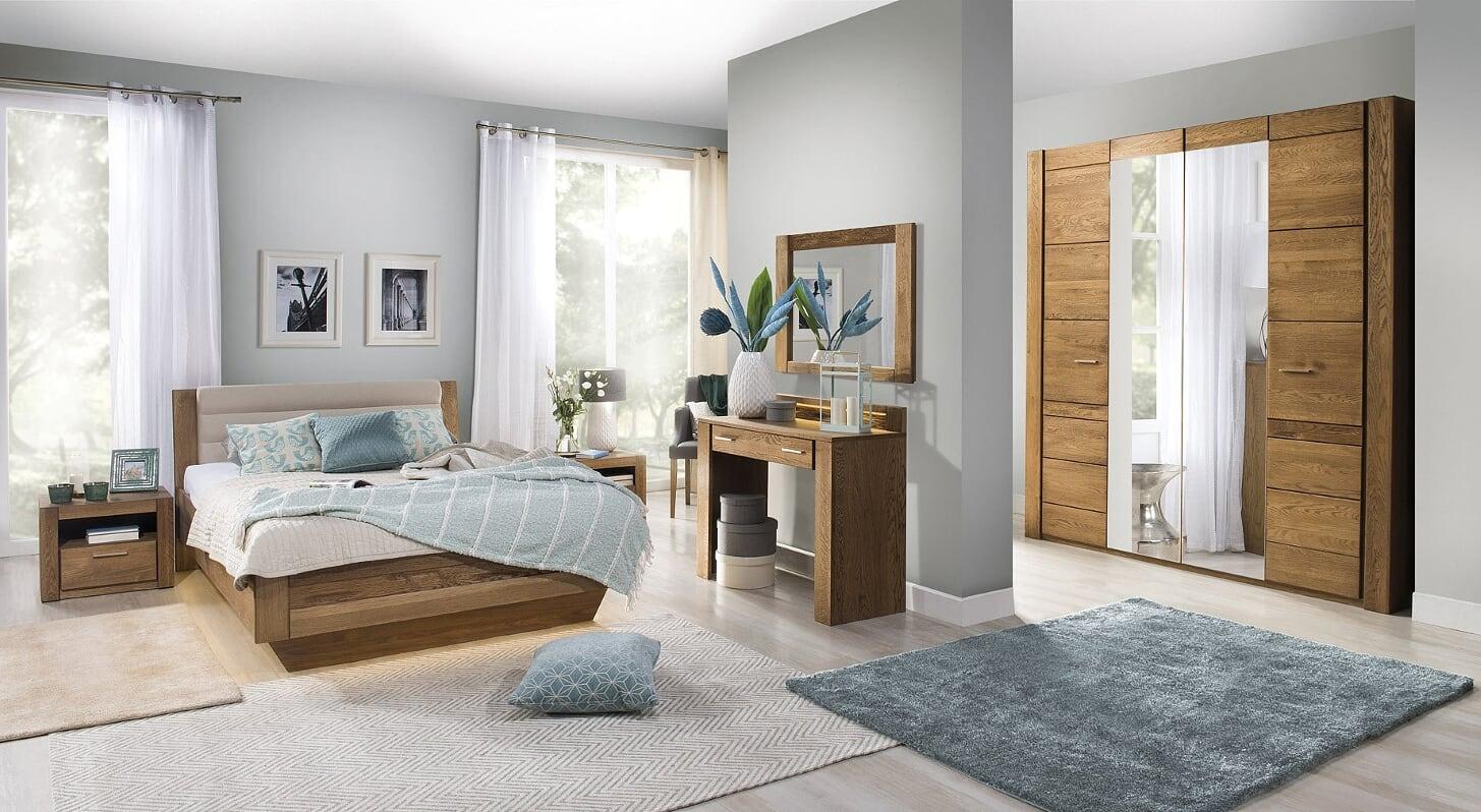 Set Mobila Dormitor din furnir si pal, cu pat 200 x 140 cm, 6 piese Velvet Stejar Rustic / Bej poza