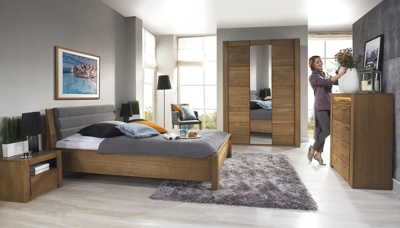 Set Mobila Dormitor din furnir si pal, cu pat 200 x 160 cm, 5 piese Velvet Stejar Rustic / Gri imagine
