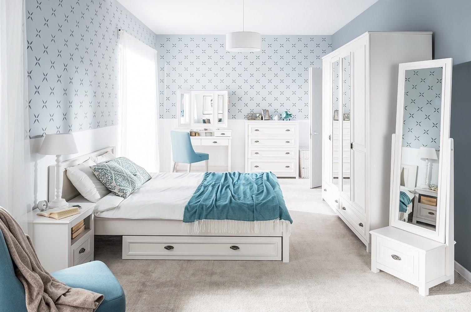 Set Mobila Dormitor din furnir si pal, cu pat 200 x 160 cm, 9 piese Madison Alb