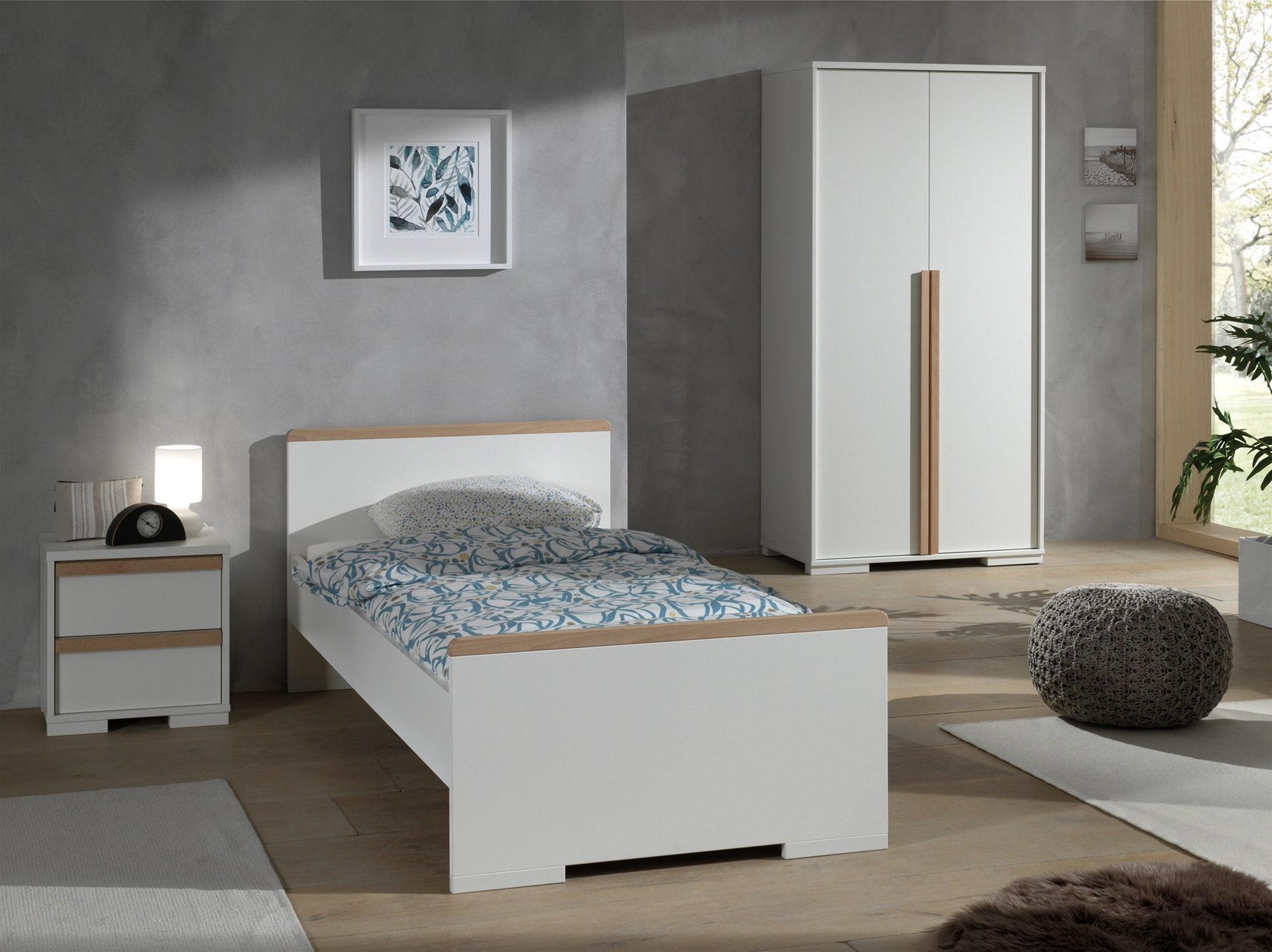 Set Mobila dormitor din lemn de fag si pal, pentru copii 3 piese London Alb / Natural, 200 x 90 cm