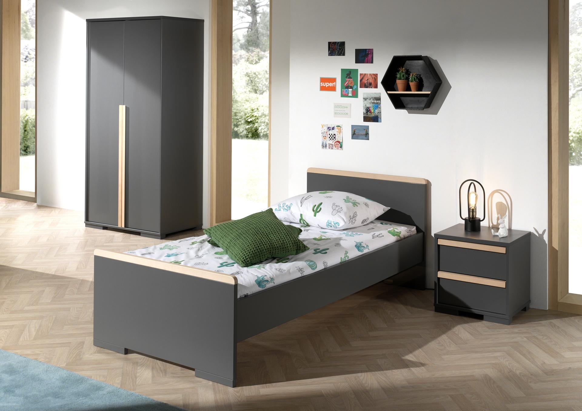 Set Mobila dormitor din lemn de fag si pal, pentru copii 3 piese London Antracit / Natural, 200 x 90 cm poza