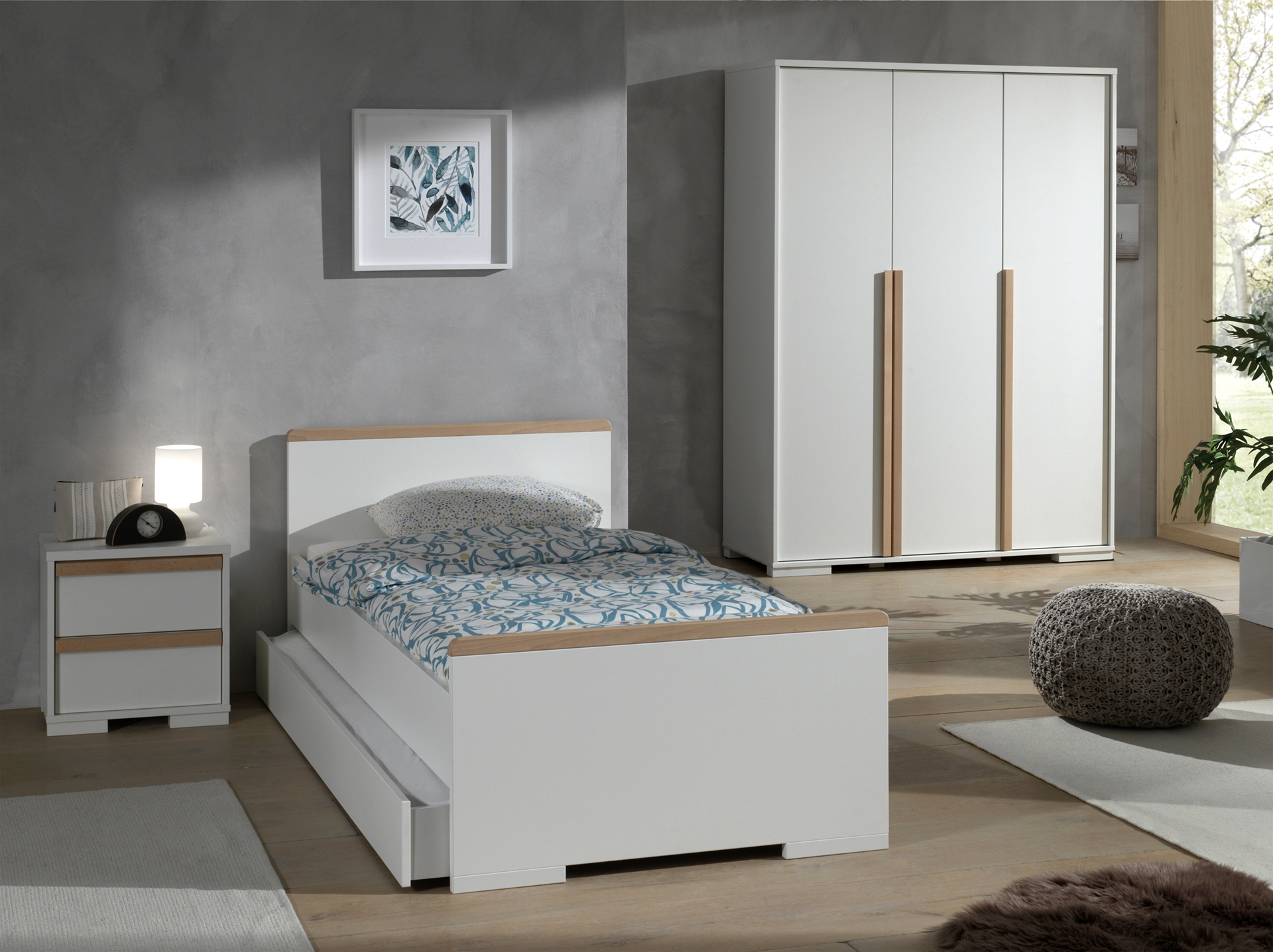 Set Mobila dormitor din lemn de fag si pal, pentru copii 4 piese London Alb / Natural, 200 x 90 cm somproduct.ro