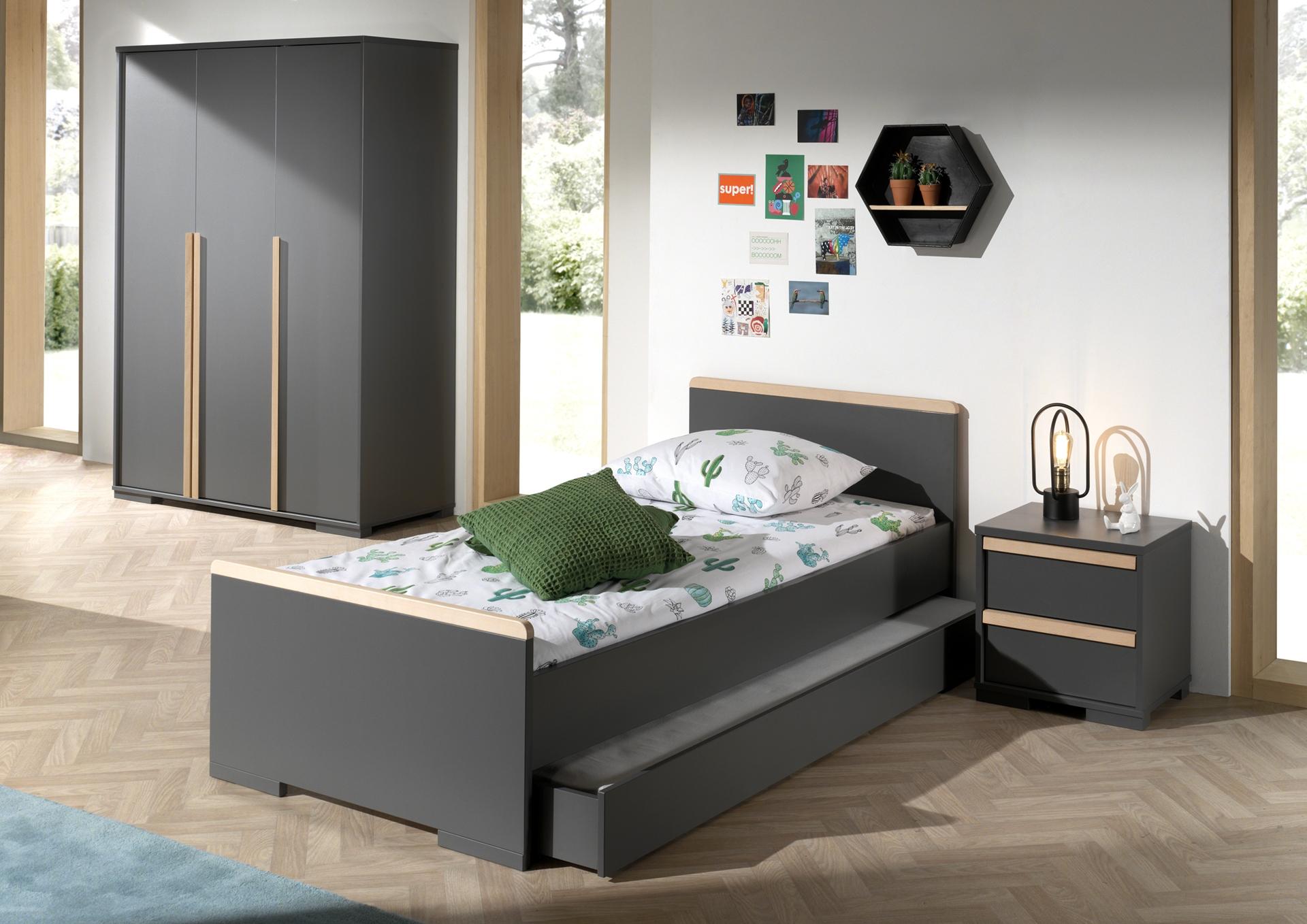 Set Mobila dormitor din lemn de fag si pal, pentru copii 4 piese London Antracit / Natural, 200 x 90 cm imagine