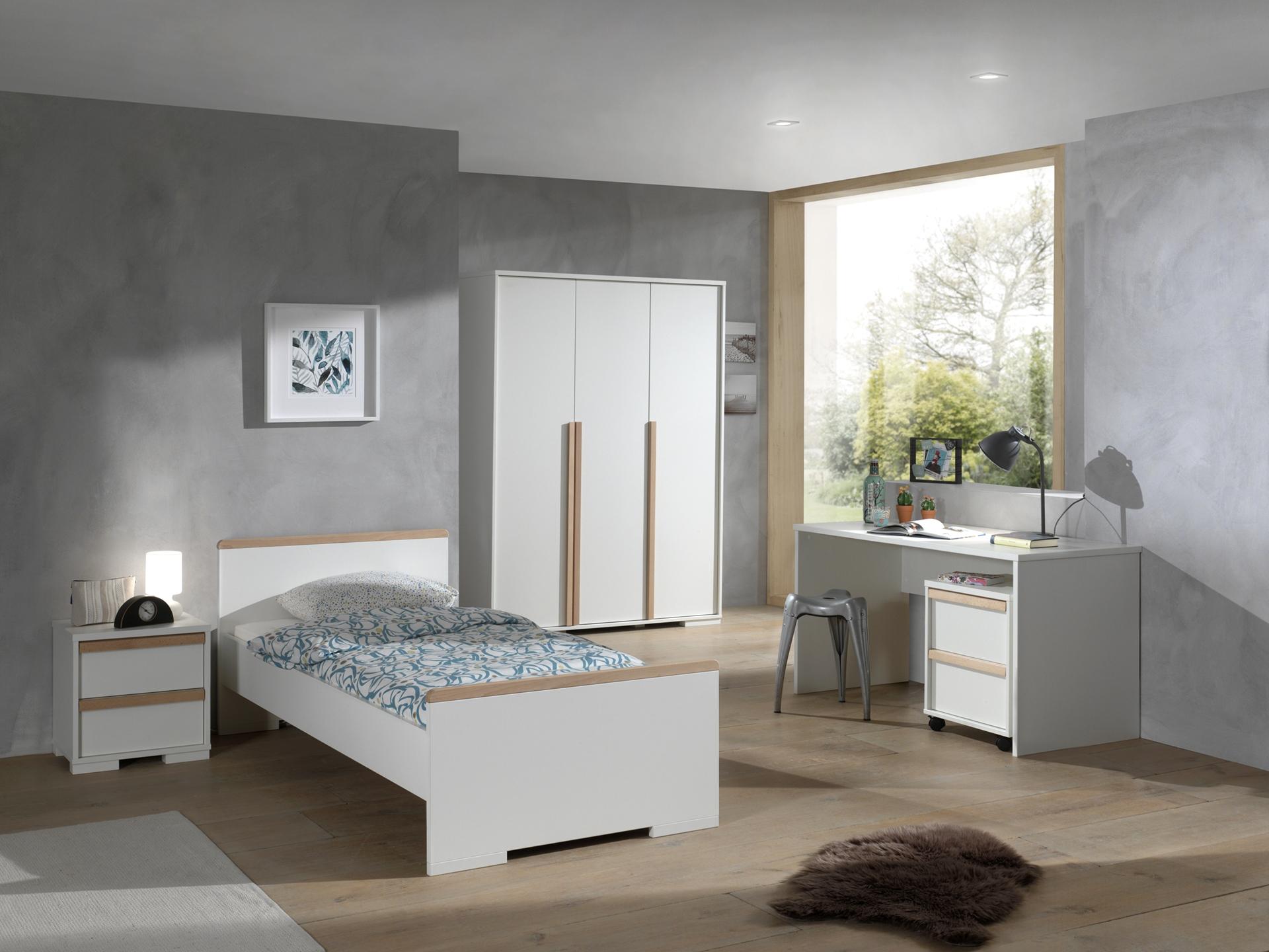 Set Mobila Dormitor Lemn Fag Pal Copii Alb Natural