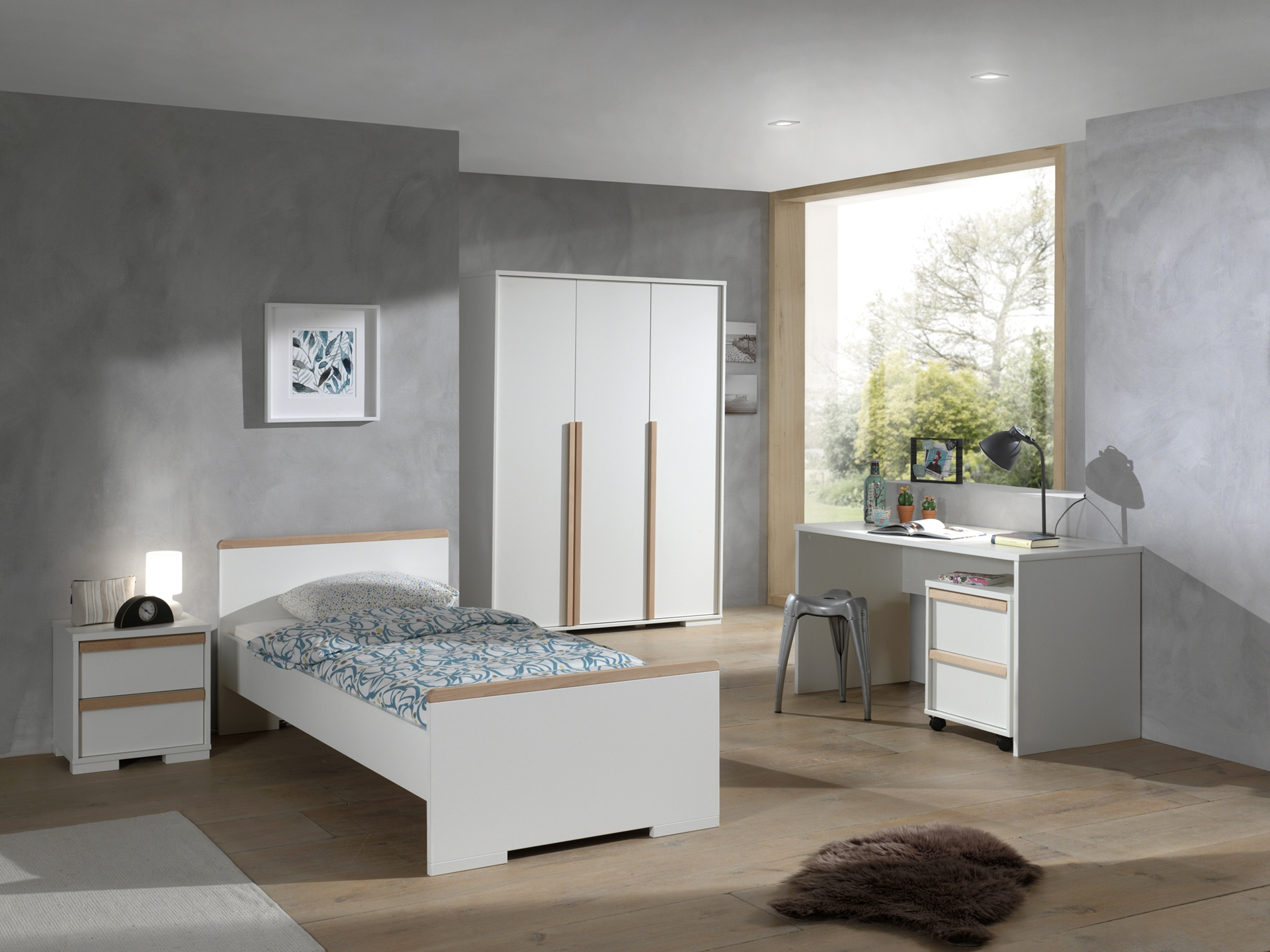 Set Mobila dormitor din lemn de fag si pal, pentru copii 5 piese London Alb / Natural, 200 x 90 cm poza