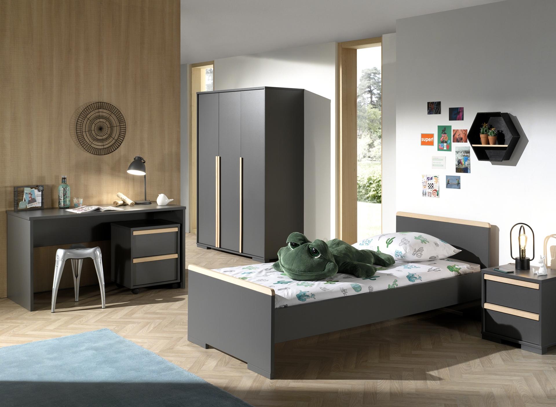 Set Mobila dormitor din lemn de fag si pal, pentru copii 5 piese London Antracit / Natural, 200 x 90 cm poza