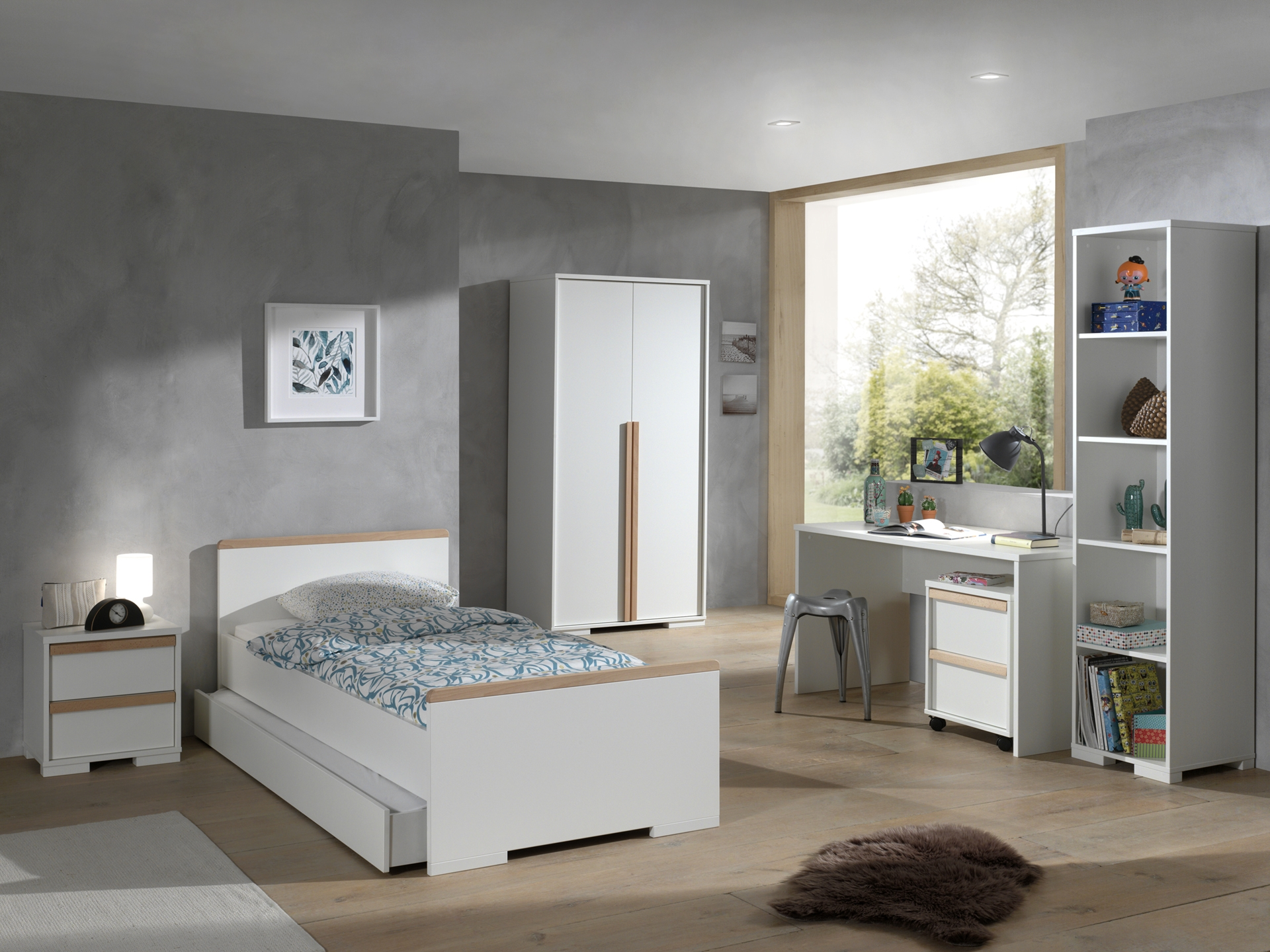 Set Mobila dormitor din lemn de fag si pal, pentru copii 7 piese London Alb / Natural, 200 x 90 cm poza