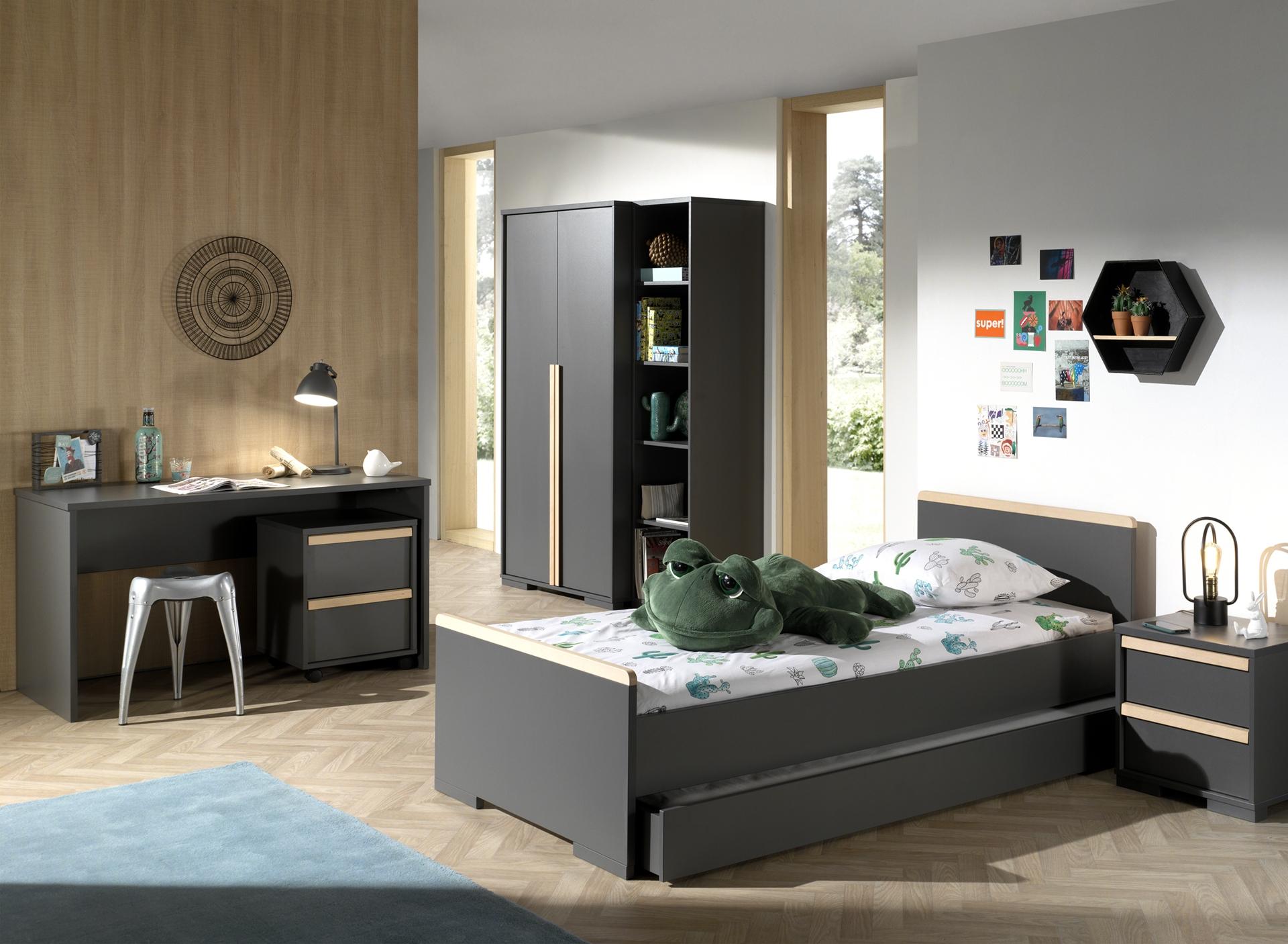 Set Mobila dormitor din lemn de fag si pal, pentru copii 7 piese London Antracit / Natural, 200 x 90 cm imagine
