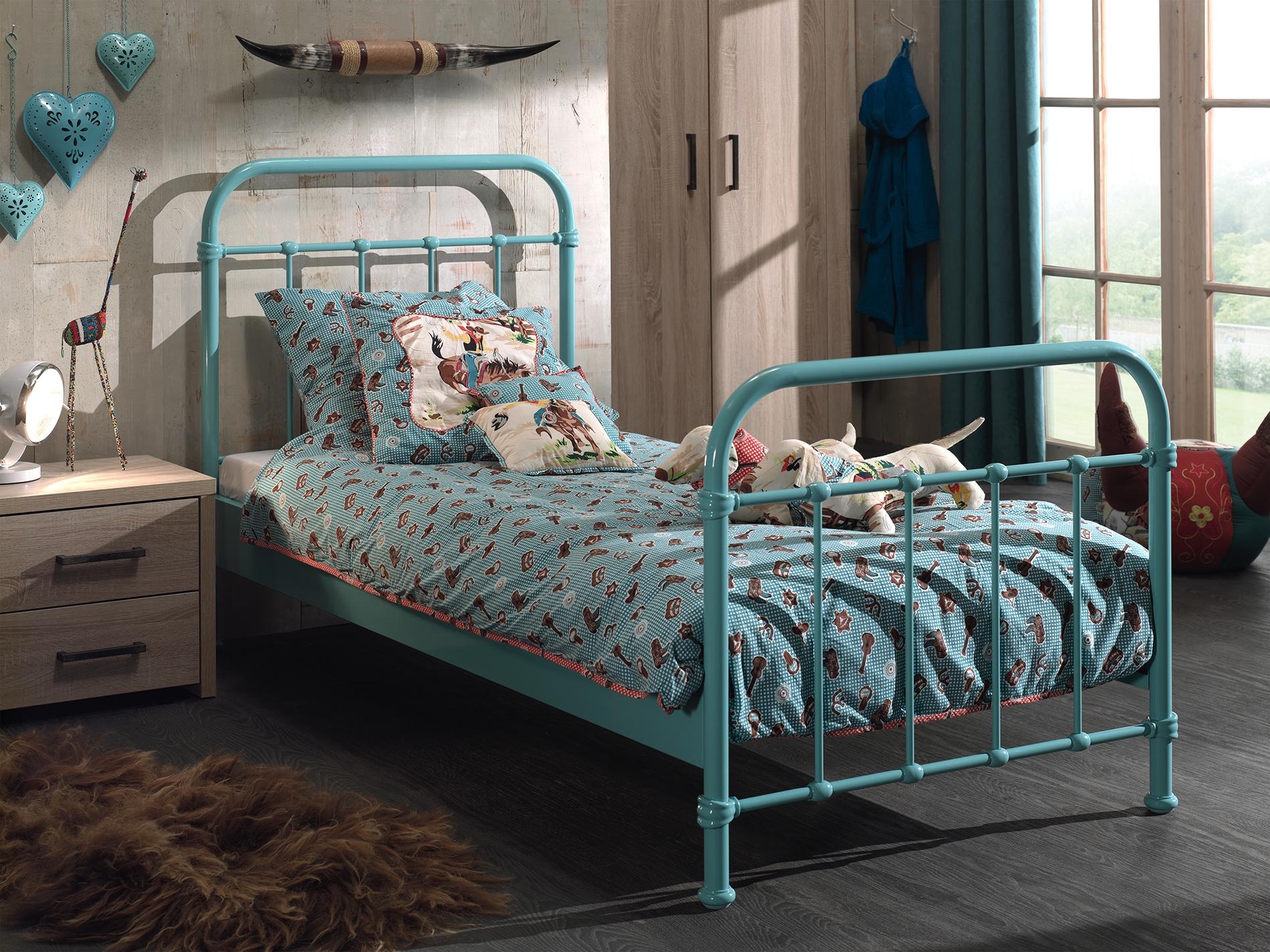 Set Mobila dormitor din lemn de pal cu pat metalic, pentru copii 3 piese New York Verde Mint / Stejar, 200 x 90 cm