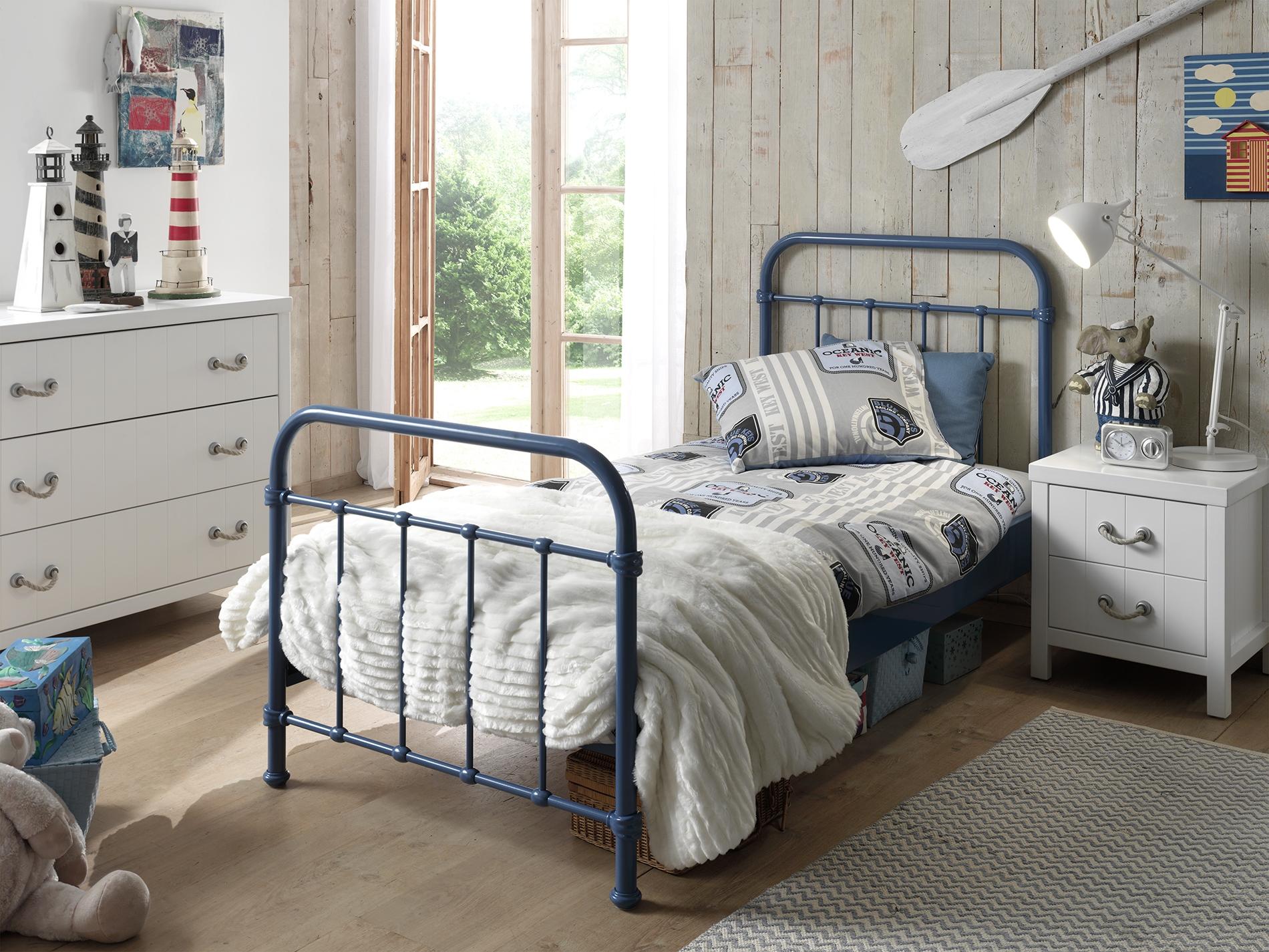 Set Mobila dormitor din lemn de pin si MDF cu pat metalic, pentru copii 3 piese New York Albastru / Alb, 200 x 90 cm poza