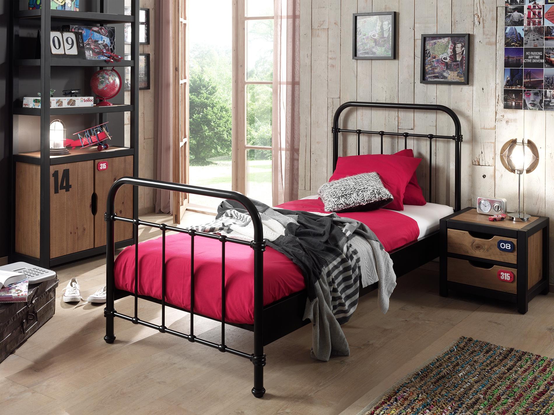 Set Mobila dormitor din lemn de pin si MDF cu pat metalic, pentru copii 3 piese New York Negru / Natural, 200 x 90 cm poza