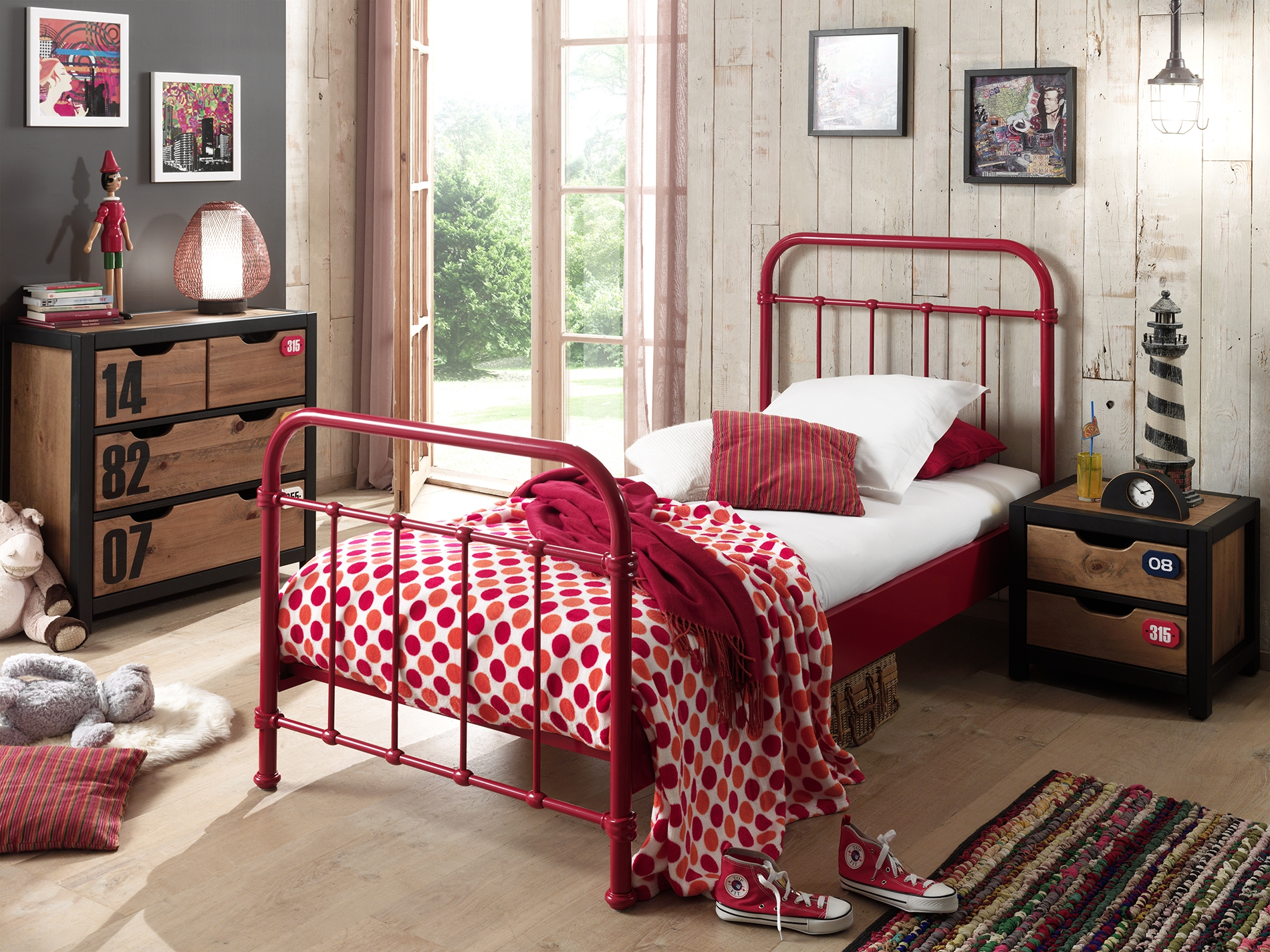 Set Mobila dormitor din lemn de pin si MDF cu pat metalic, pentru copii 3 piese New York Rosu / Natural, 200 x 90 cm imagine