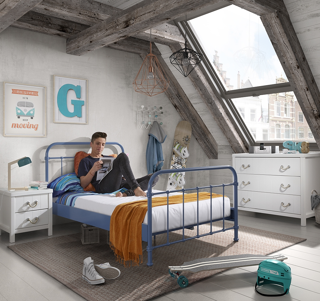 Set Mobila dormitor din lemn de pin si MDF cu pat metalic, pentru tineret 3 piese New York Albastru / Alb, 200 x 120 cm poza