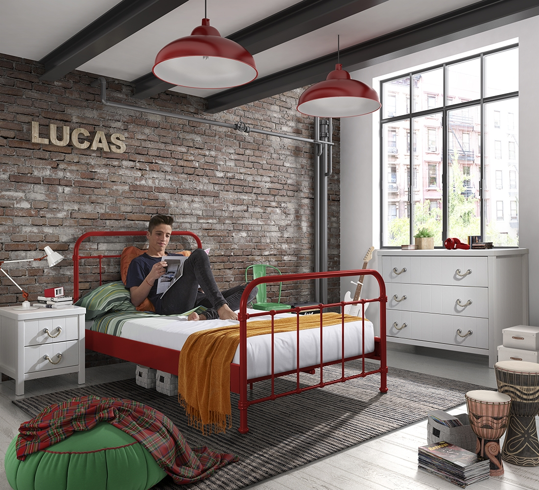 Set Mobila dormitor din lemn de pin si MDF cu pat metalic, pentru tineret 3 piese New York Rosu / Alb, 200 x 120 cm