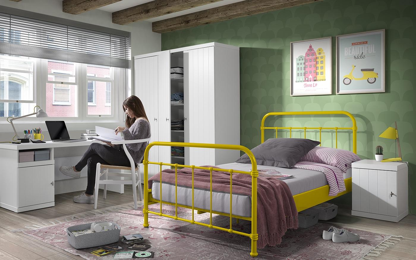 Set Mobila dormitor din lemn de pin si MDF cu pat metalic, pentru tineret 4 piese New York Galben / Alb, 200 x 120 cm poza