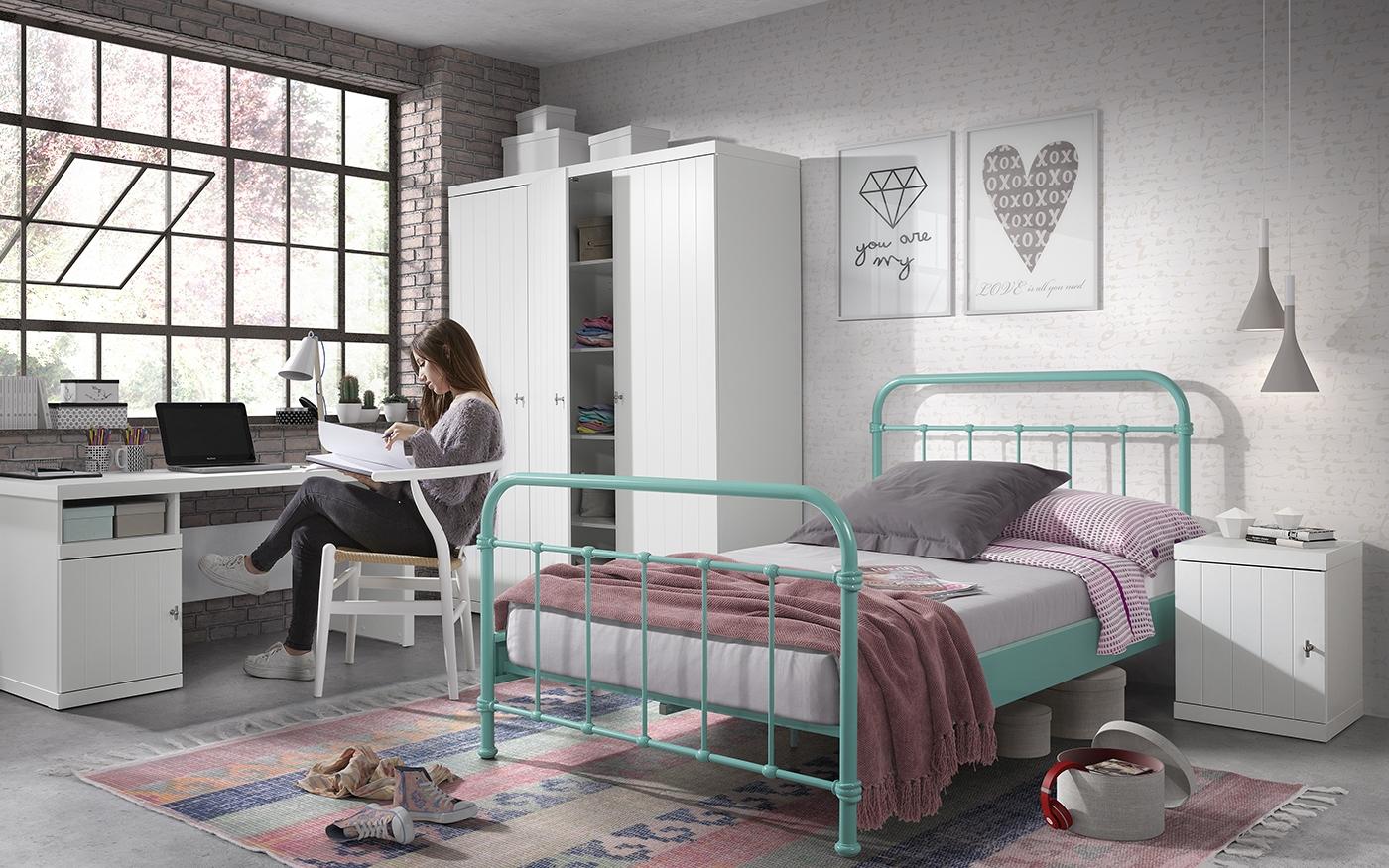 Set Mobila dormitor din lemn de pin si MDF cu pat metalic, pentru tineret 4 piese New York Verde Mint / Alb, 200 x 120 cm poza