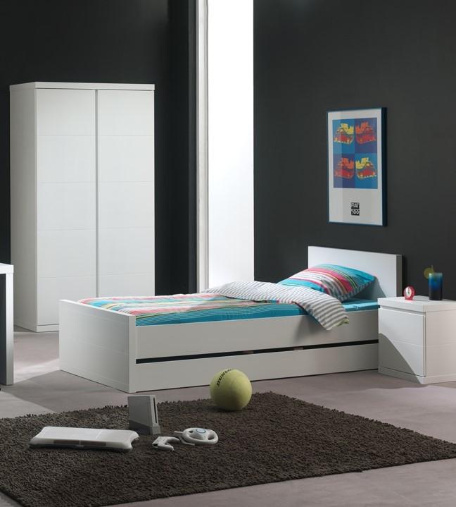 Set Mobila dormitor din lemn de pin si MDF, pentru copii 2 piese Lara Alb, 200 x 90 cm