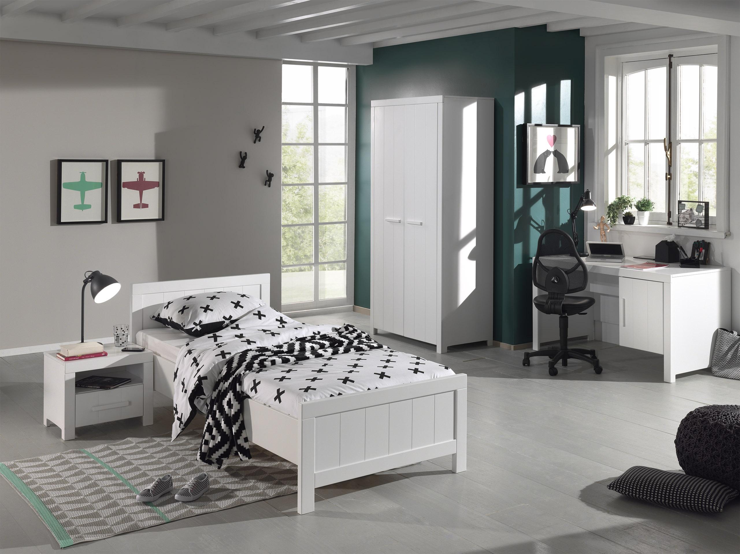 Set Mobila dormitor din lemn de pin si MDF, pentru copii 4 piese Erik Alb, 200 x 90 cm somproduct.ro