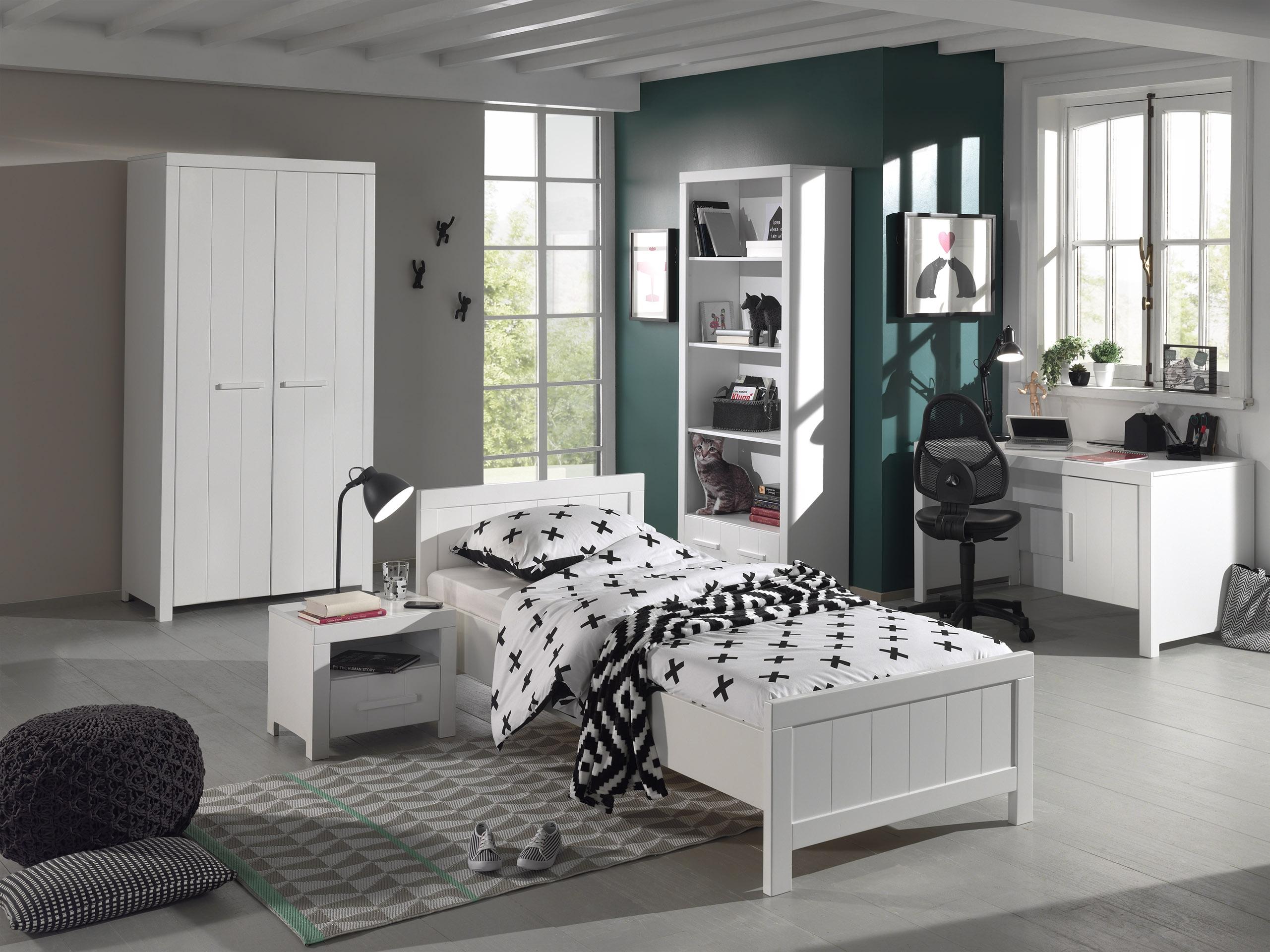 Set Mobila dormitor din lemn de pin si MDF, pentru copii 5 piese Erik Alb, 200 x 90 cm imagine