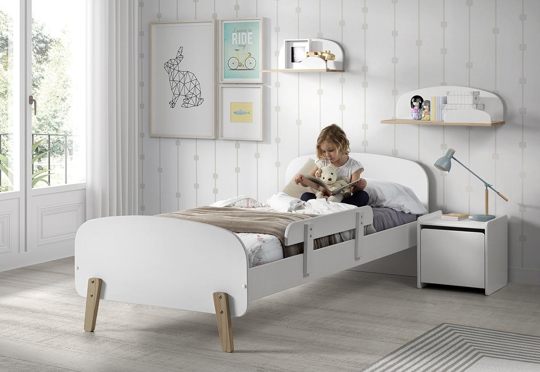 Set Mobila dormitor din lemn de pin si MDF, pentru copii 5 piese Kiddy Alb, 200 x 90 cm imagine