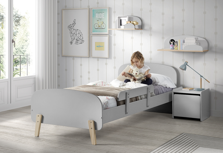Set Mobila dormitor din lemn de pin si MDF, pentru copii 5 piese Kiddy Gri, 200 x 90 cm poza