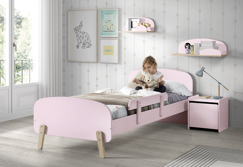 Set Mobila dormitor din lemn de pin si MDF, pentru copii 5 piese Kiddy Roz, 200 x 90 cm somproduct.ro