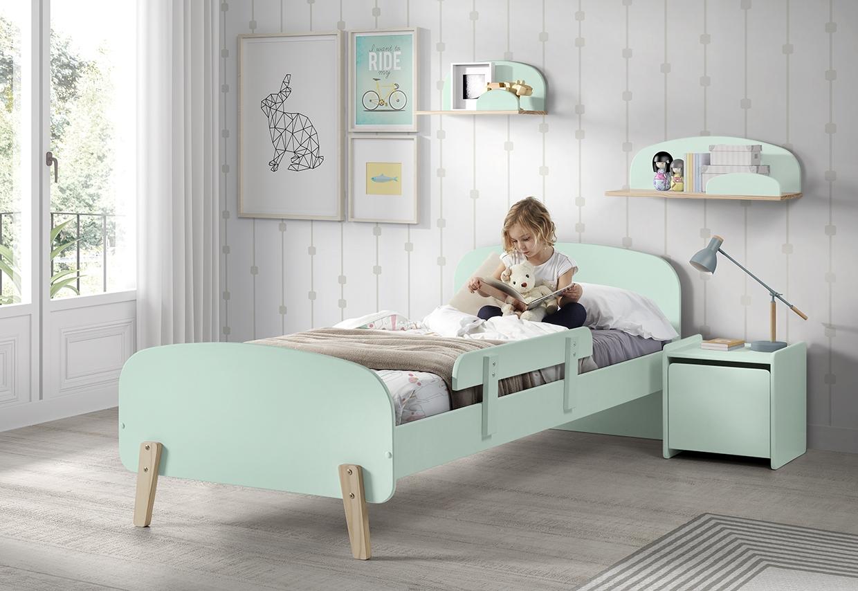 Set Mobila dormitor din lemn de pin si MDF, pentru copii 5 piese Kiddy Verde Mint, 200 x 90 cm poza