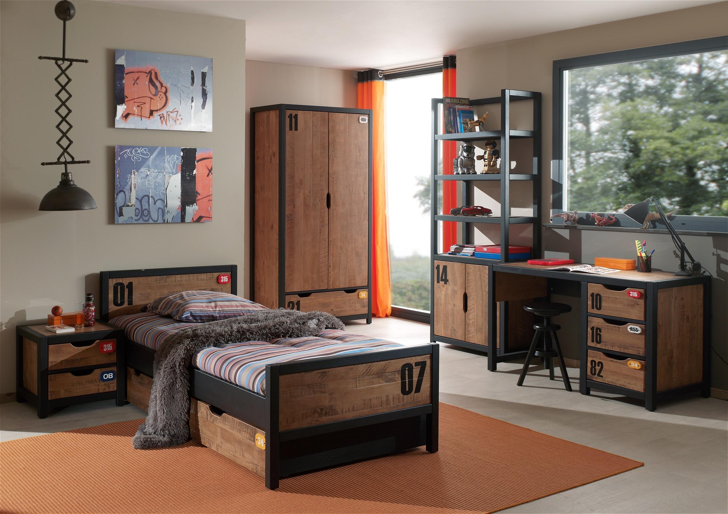 Set Mobila dormitor din lemn de pin si MDF, pentru copii 6 piese Alex Natural / Negru, 200 x 90 cm poza