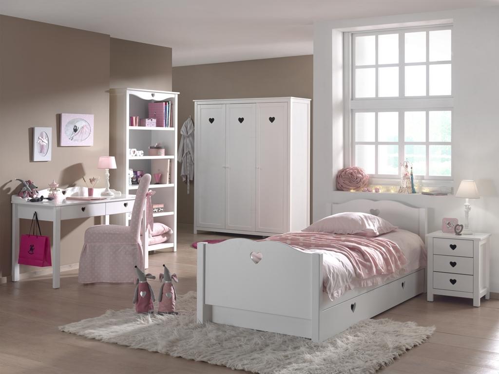 Set Mobila Dormitor Lemn Pin Mdf Copii Amori Alb