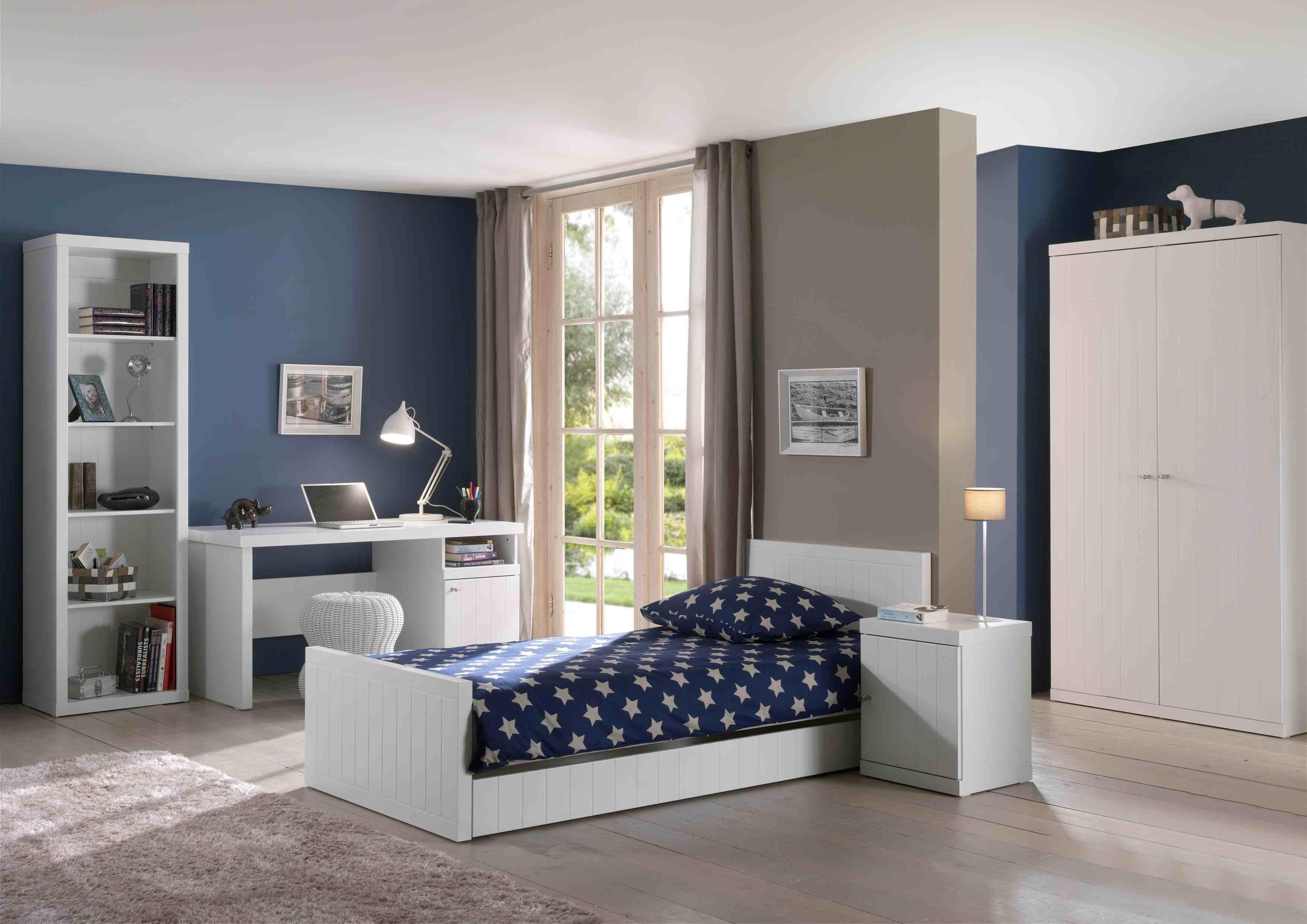 Set Mobila dormitor din lemn de pin si MDF, pentru copii 6 piese Robin Alb, 200 x 90 cm poza