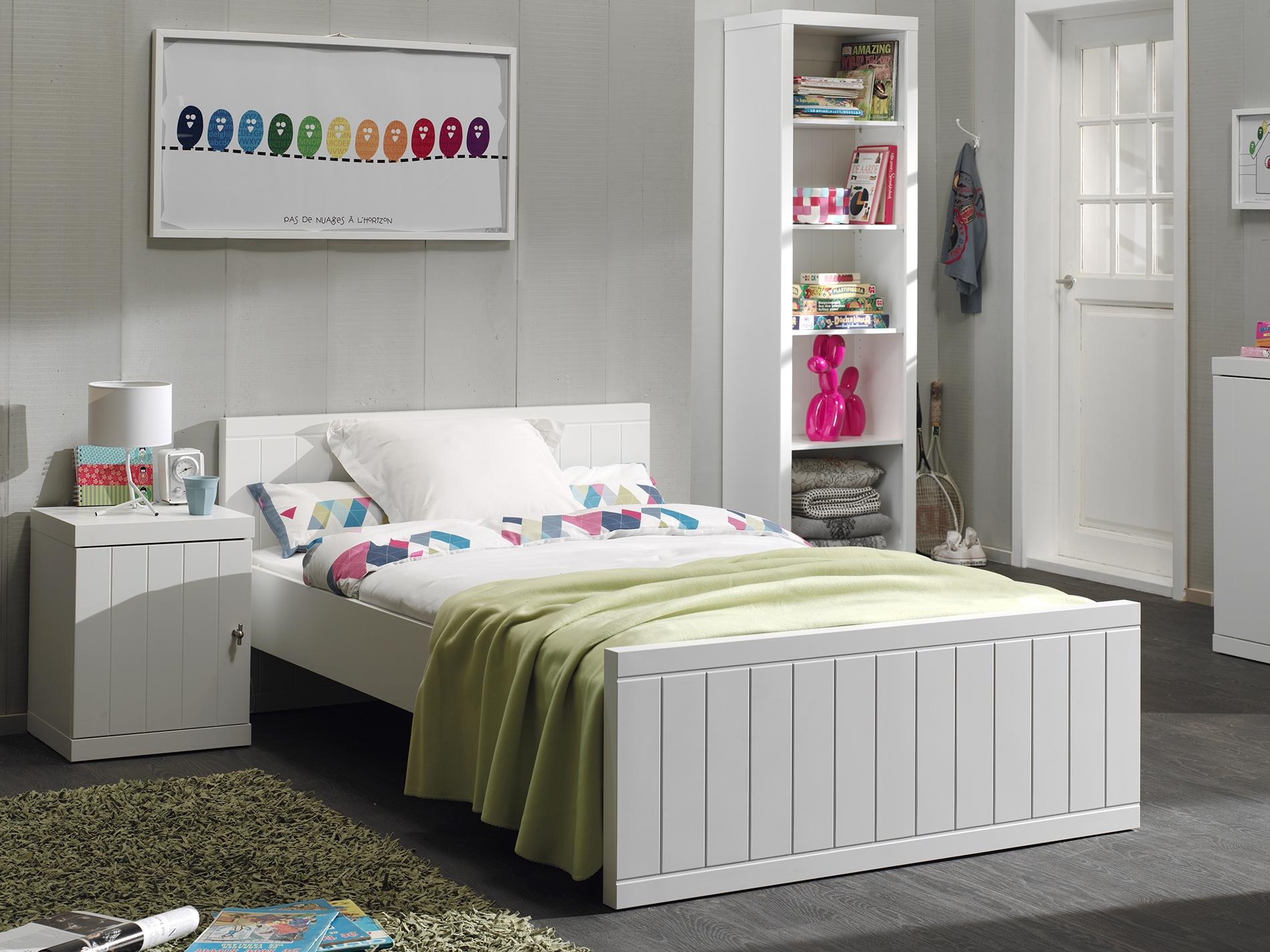 Set Mobila dormitor din lemn de pin si MDF, pentru tineret 3 piese Robin Alb, 200 x 120 cm