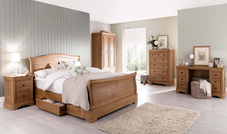 Poza Set Mobila Dormitor Lemn Stejar Furnir
