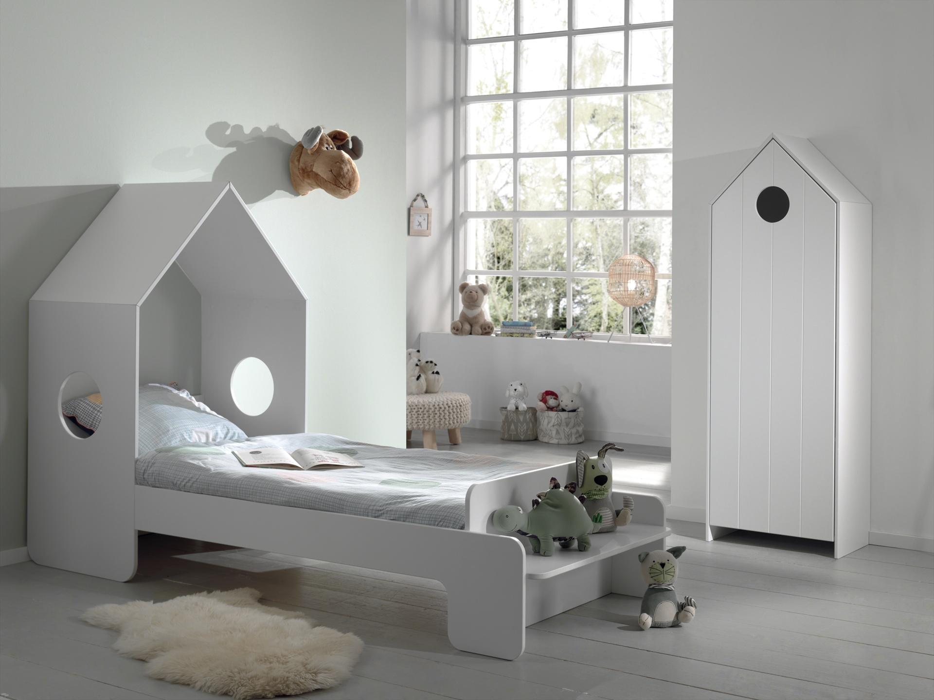 Set Mobila dormitor din MDF, pentru copii 2 piese Casami Alb, 200 x 90 cm poza
