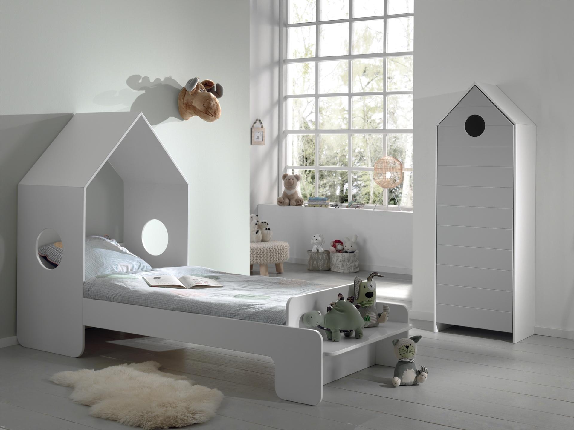 Set Mobila dormitor din MDF, pentru copii 2 piese Casami Gri / Alb, 200 x 90 cm somproduct.ro