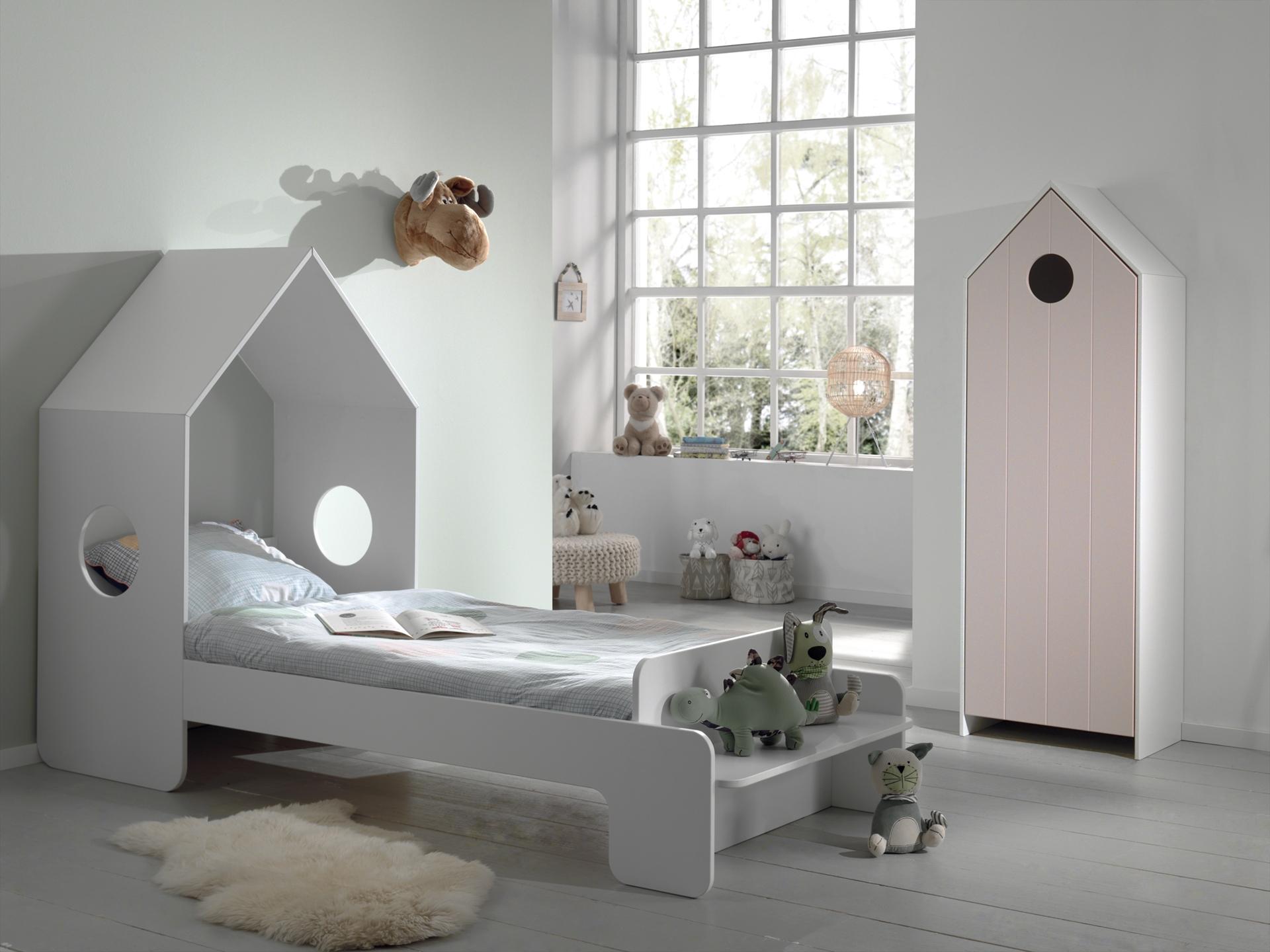 Set Mobila dormitor din MDF, pentru copii 2 piese Casami Roz / Alb, 200 x 90 cm poza