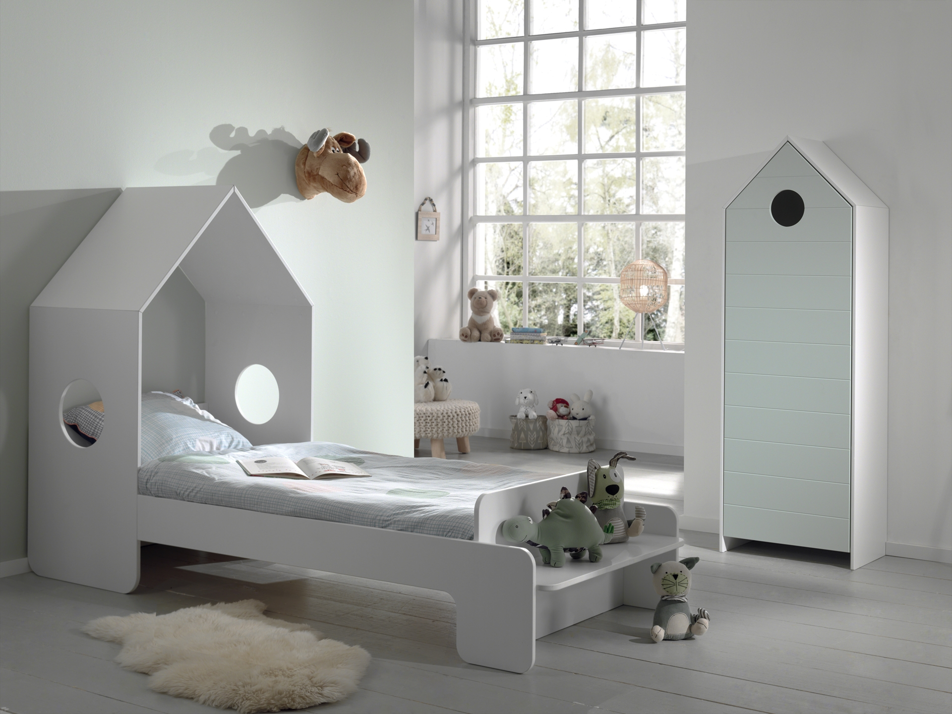 Set Mobila dormitor din MDF, pentru copii 2 piese Casami Verde Mint / Alb, 200 x 90 cm poza