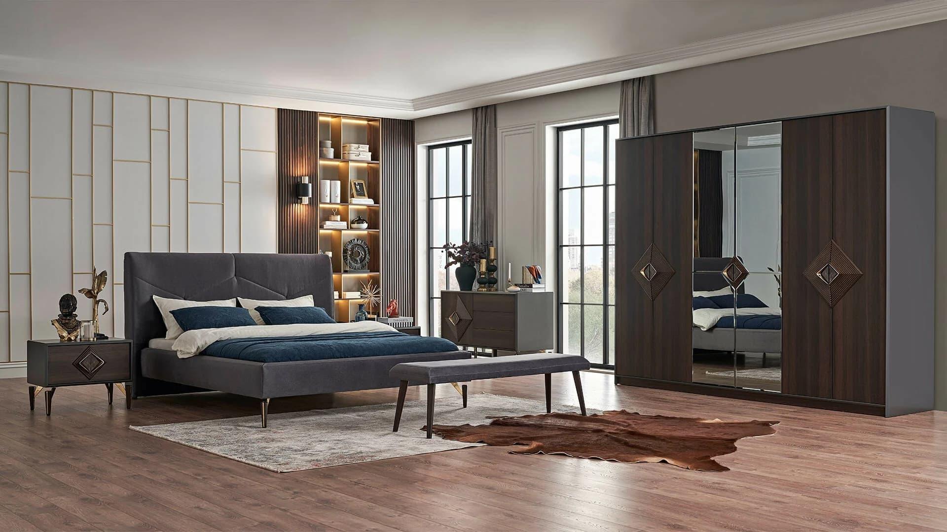 Set Mobila Dormitor Din Mdf Si Pal, Cu Pat 200 X 160 Cm, 5 Piese Valentin Narrow Velvet Gri / Nuc