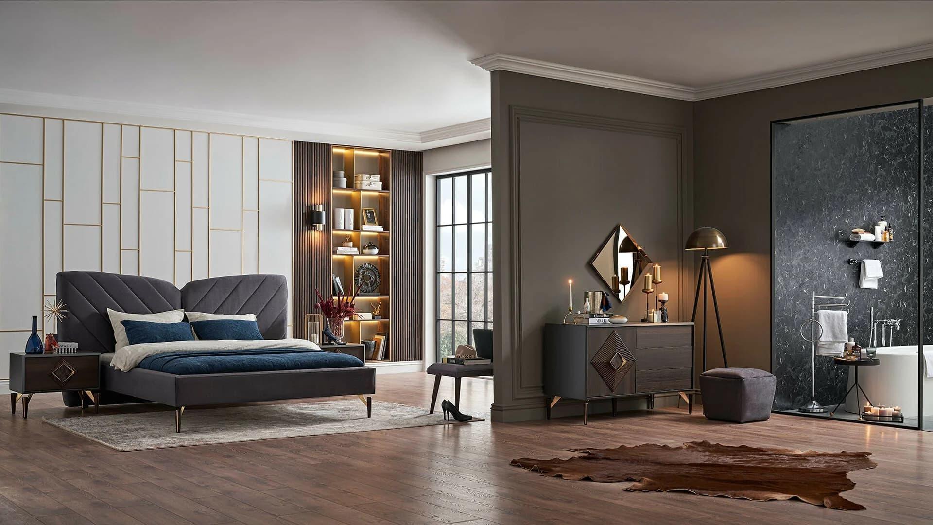 Set Mobila Dormitor din MDF si pal, cu pat 200 x 180 cm, 4 piese Valentin Wide Velvet Gri / Nuc somproduct.ro