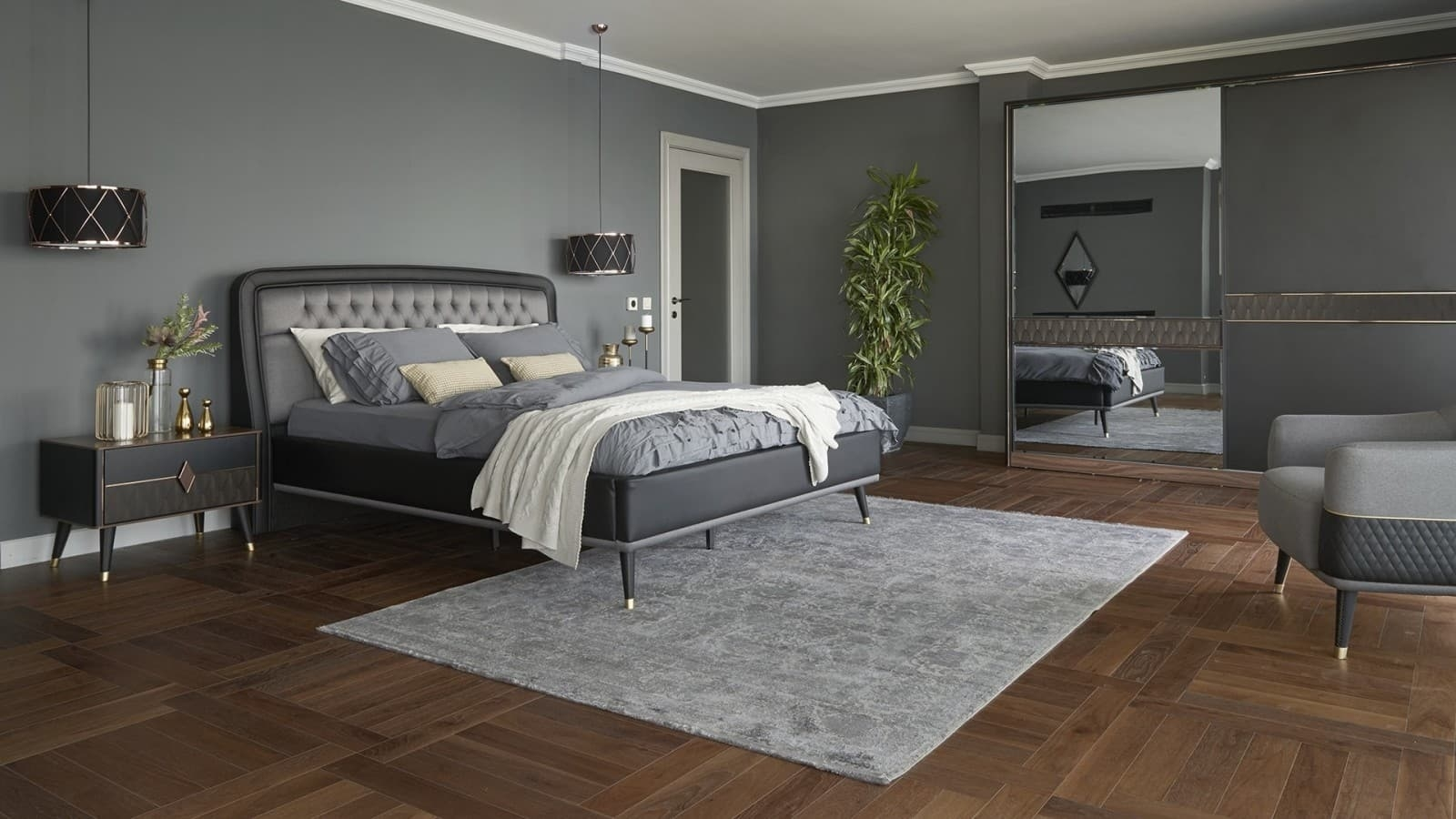 Set Mobila Dormitor din pal, cu pat 200 x 160 cm, 4 piese Diamond Negru / Grafit poza