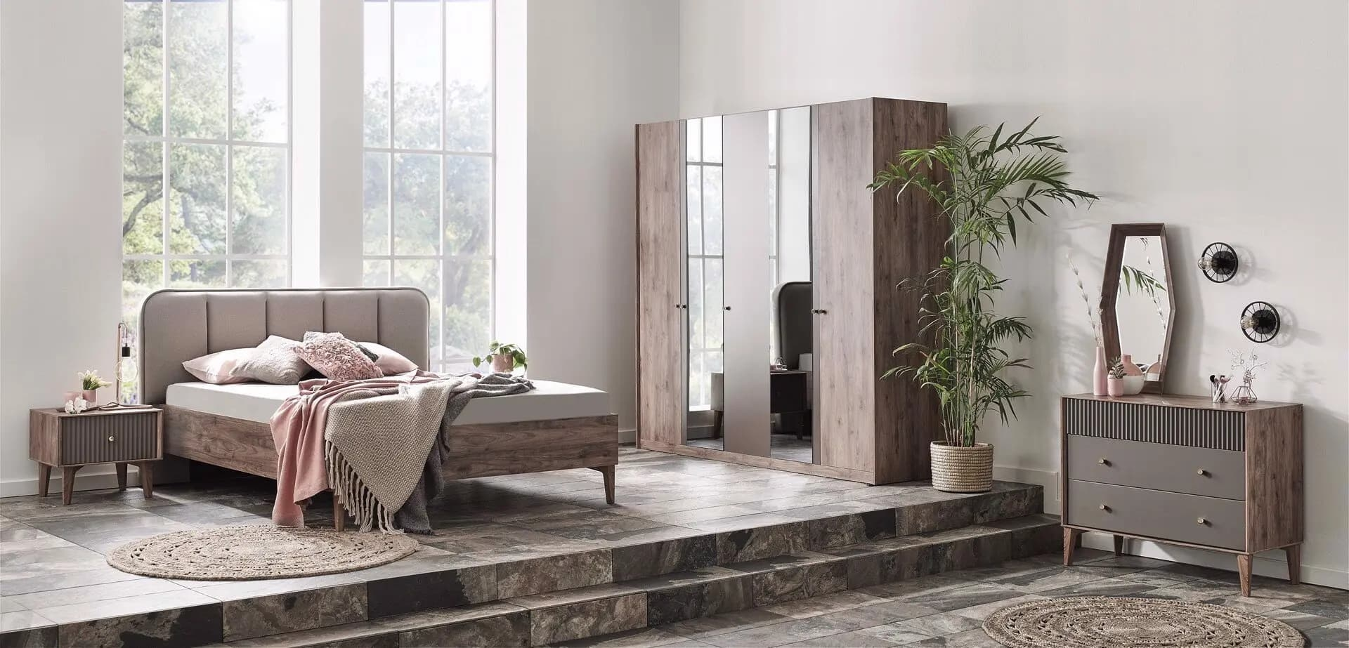 Set Mobila Dormitor din pal, cu pat 200 x 180 cm, 6 piese Elita Natural / Grej poza