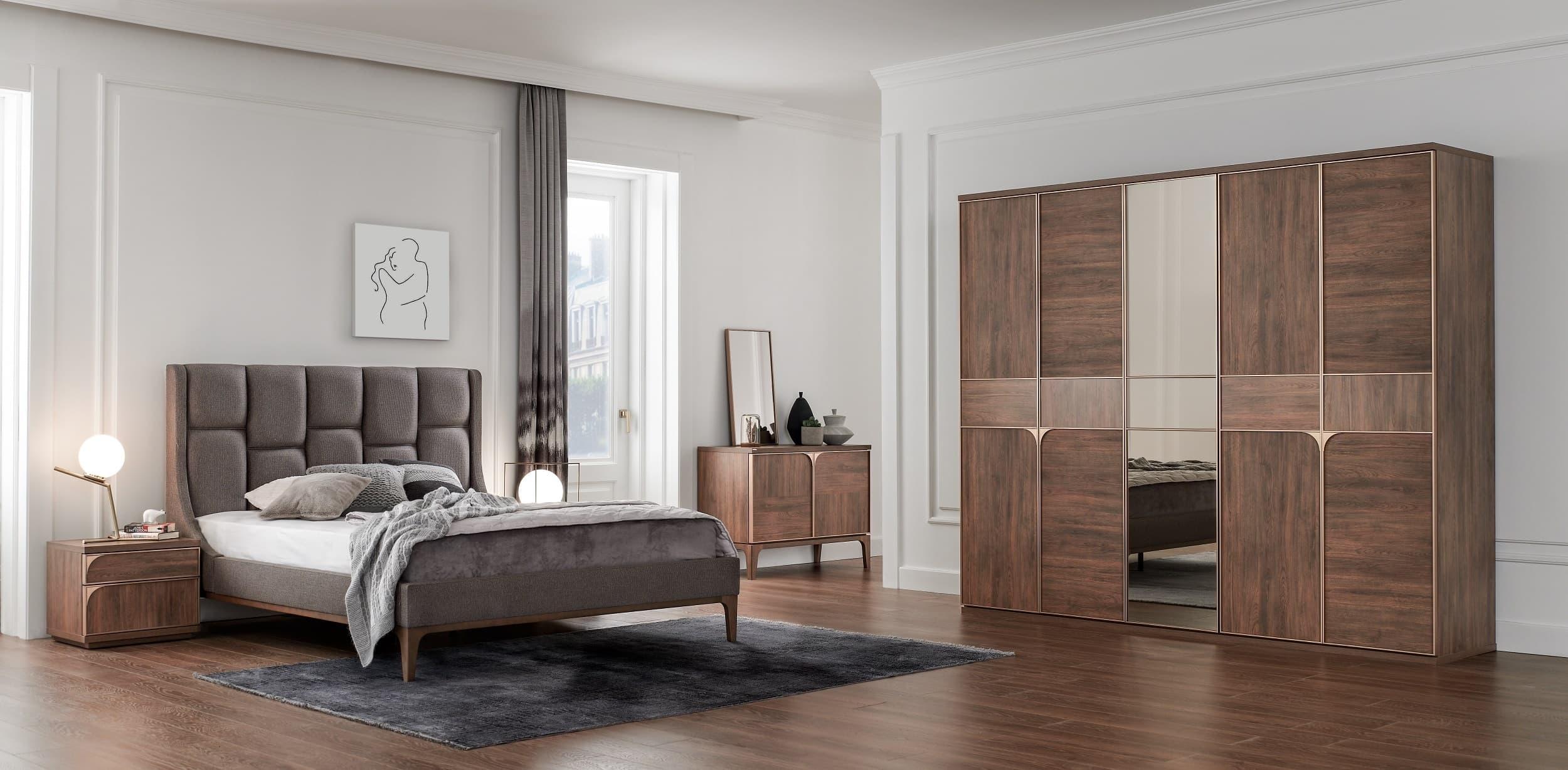 Set Mobila Dormitor din pal, cu pat 200 x 180 cm, 6 piese Gold Nuc poza