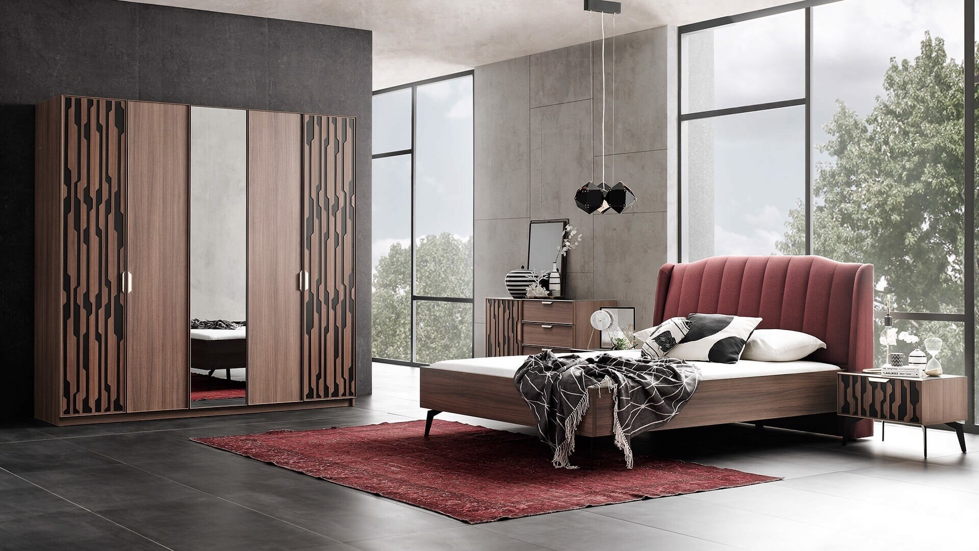 Set Mobila Dormitor din pal, cu pat 200 x 180 cm, 6 piese Louisa Bordeaux / Nuc poza