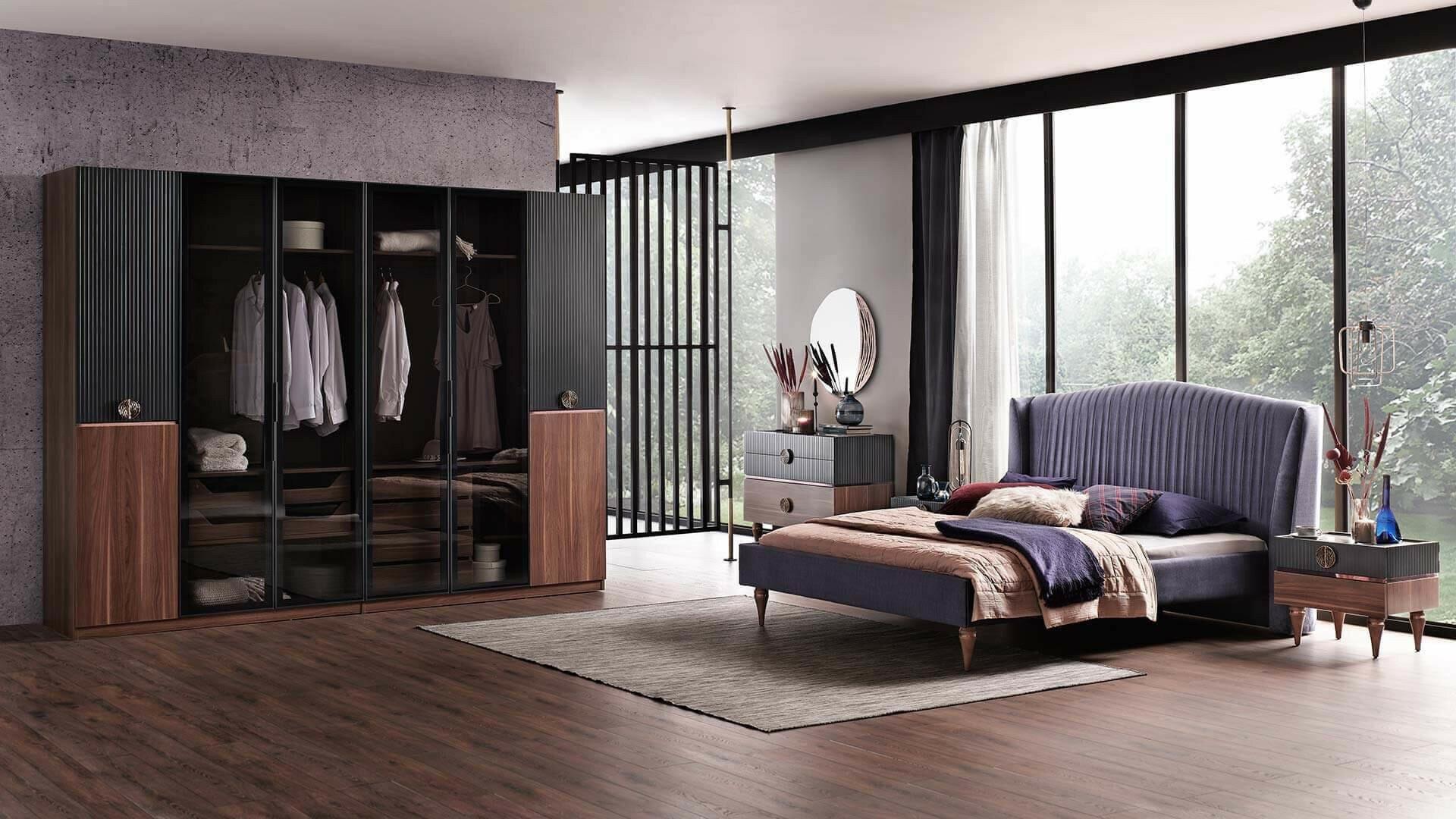 Set Mobila Dormitor din pal, cu pat 200 x 180 cm, 6 piese Montana Antracit / Nuc poza