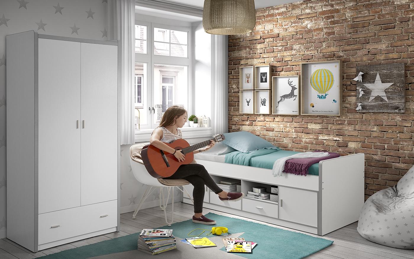 Set Mobila dormitor din pal, pentru copii 2 piese Bonny Capitan Alb, 200 x 90 cm poza