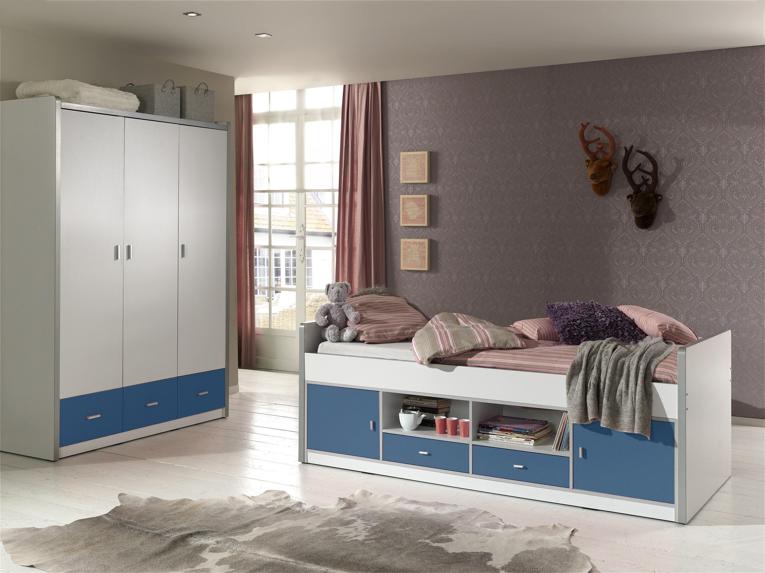Set Mobila dormitor din pal, pentru copii 2 piese Bonny Capitan Alb / Albastru, 200 x 90 cm imagine
