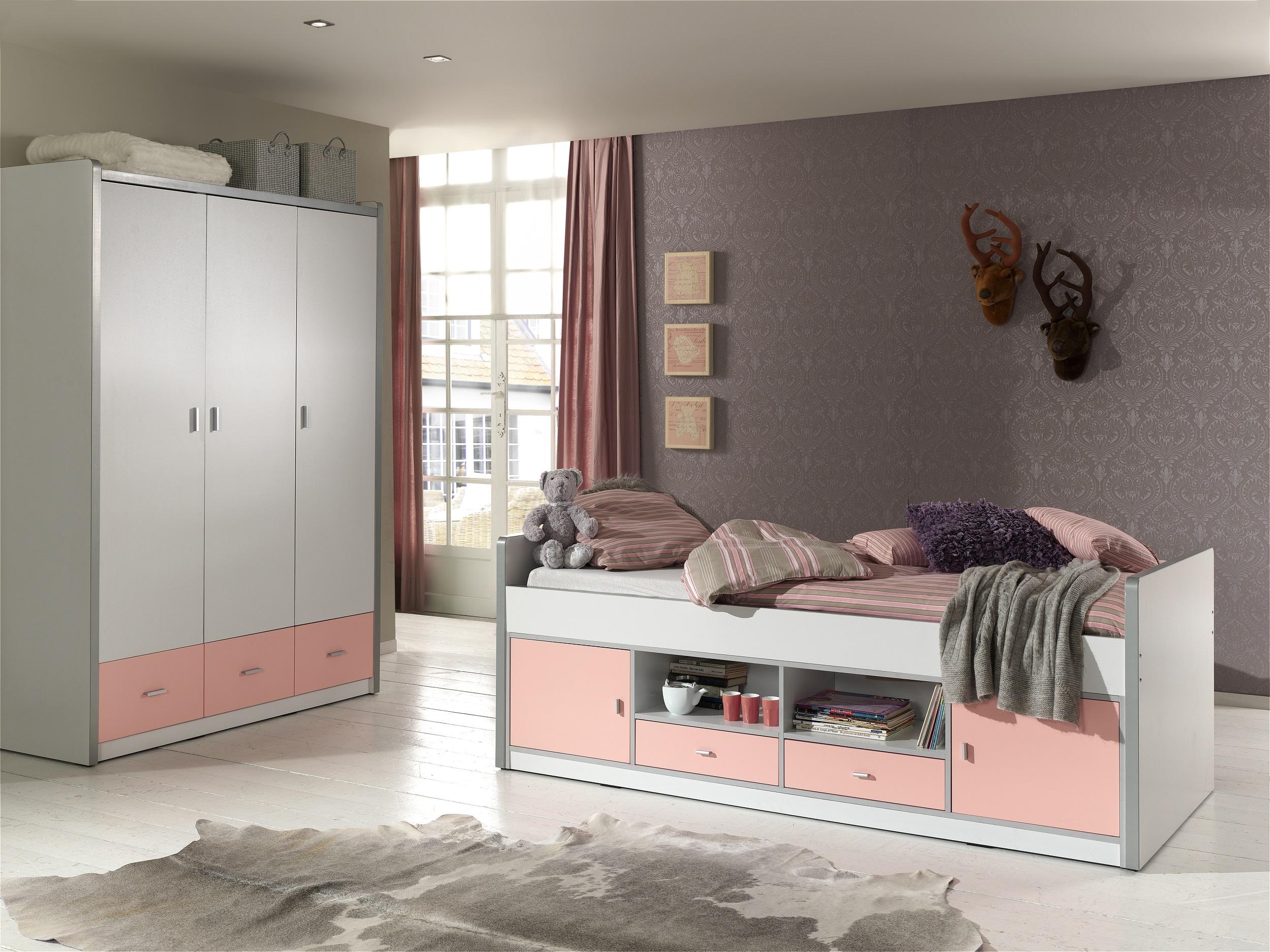 Set Mobila dormitor din pal, pentru copii 2 piese Bonny Capitan Alb / Roz, 200 x 90 cm somproduct.ro