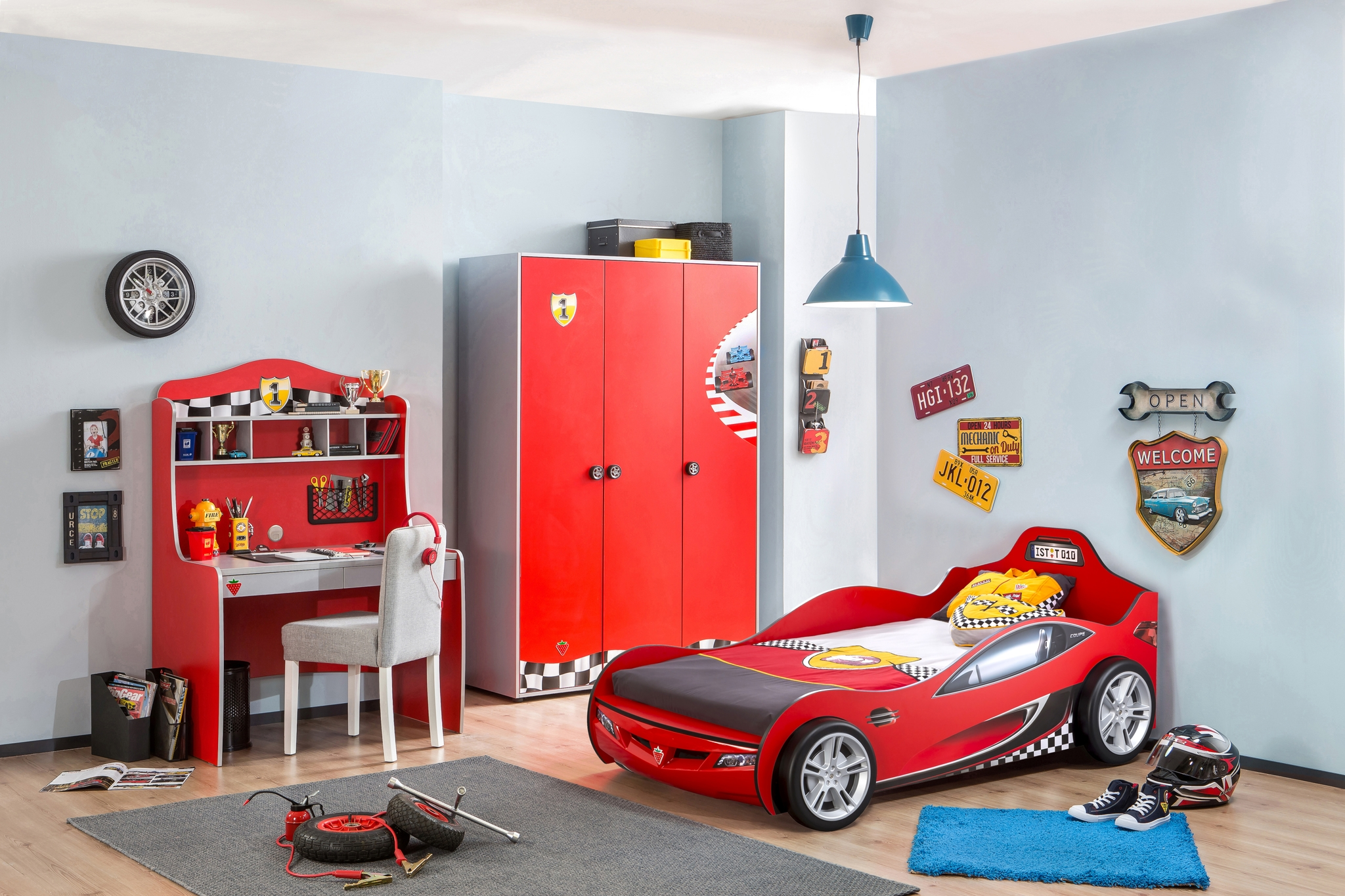 Set Mobila dormitor din pal, pentru copii 3 piese Race Cup Red / Light Blue imagine