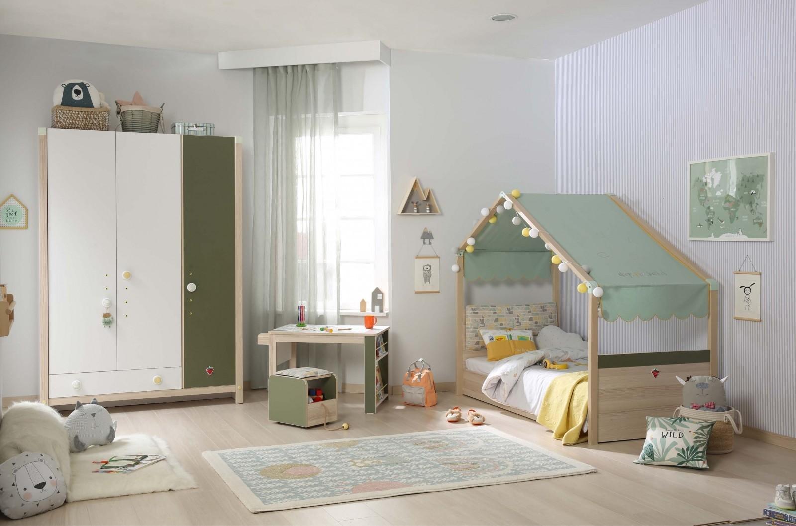 Set Mobila dormitor din pal, pentru copii 4 piese Montessori New Natural / Verde, 180 x 80 cm imagine