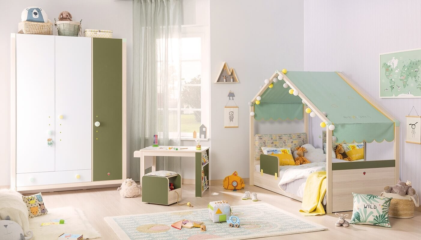 Set Mobila dormitor din pal, pentru copii 5 piese Montessori New Natural / Verde, 200 x 90 cm poza